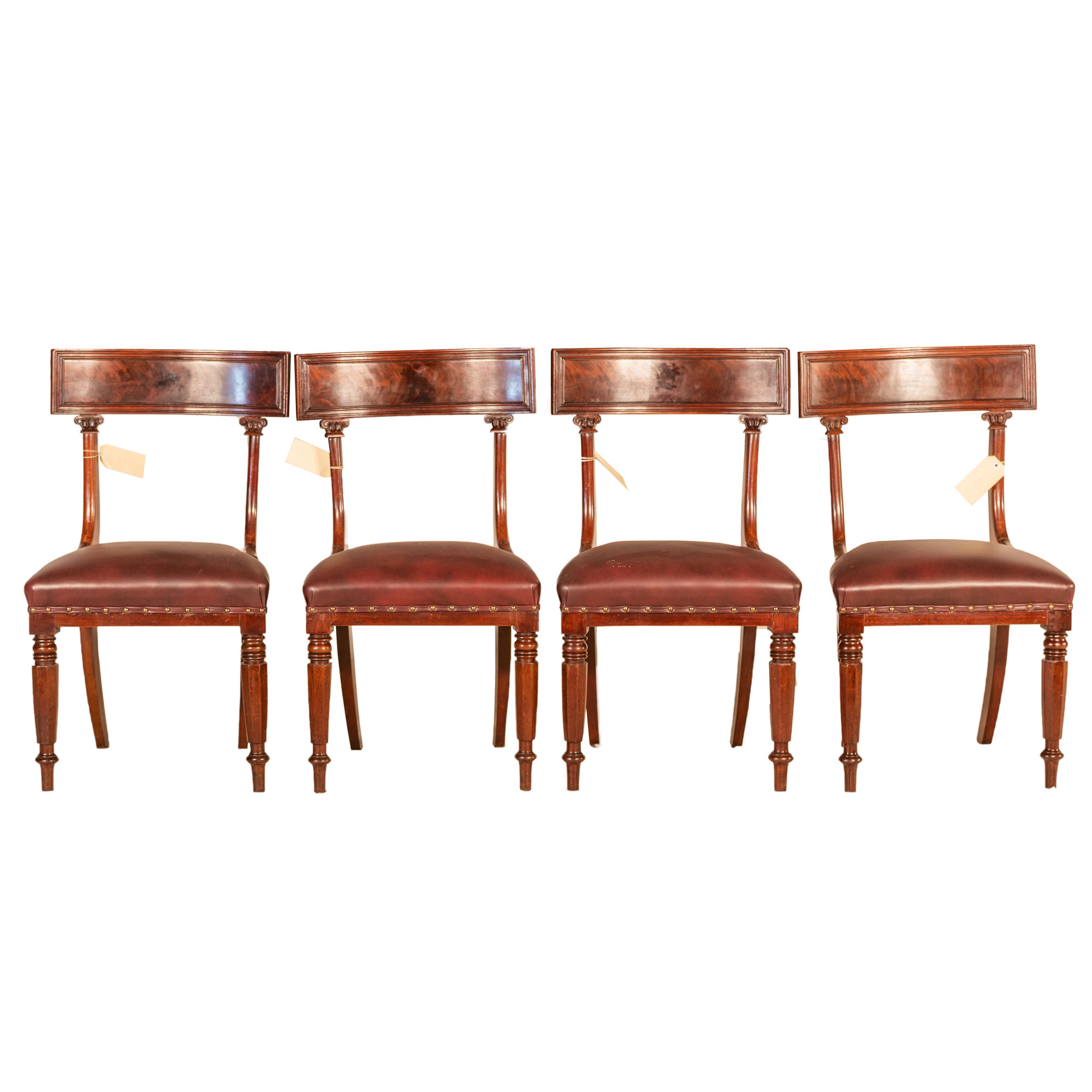 'Four William IV Mahogany Dining Chairs with Brown Leather Upholstery Circa 1835'