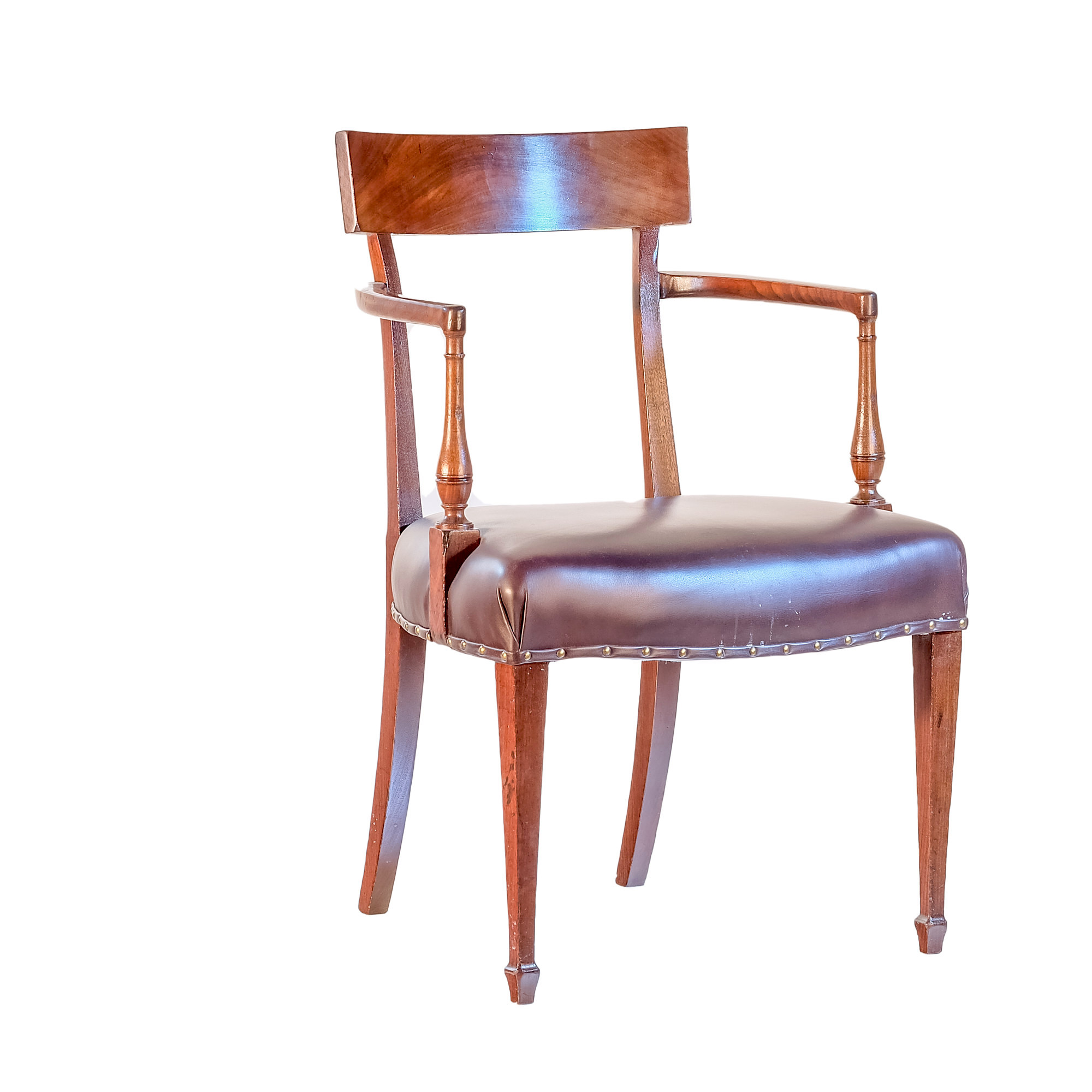 'George III Sheraton Mahogany Open Armchair with Dark Brown Leather Upholstery Circa 1800'