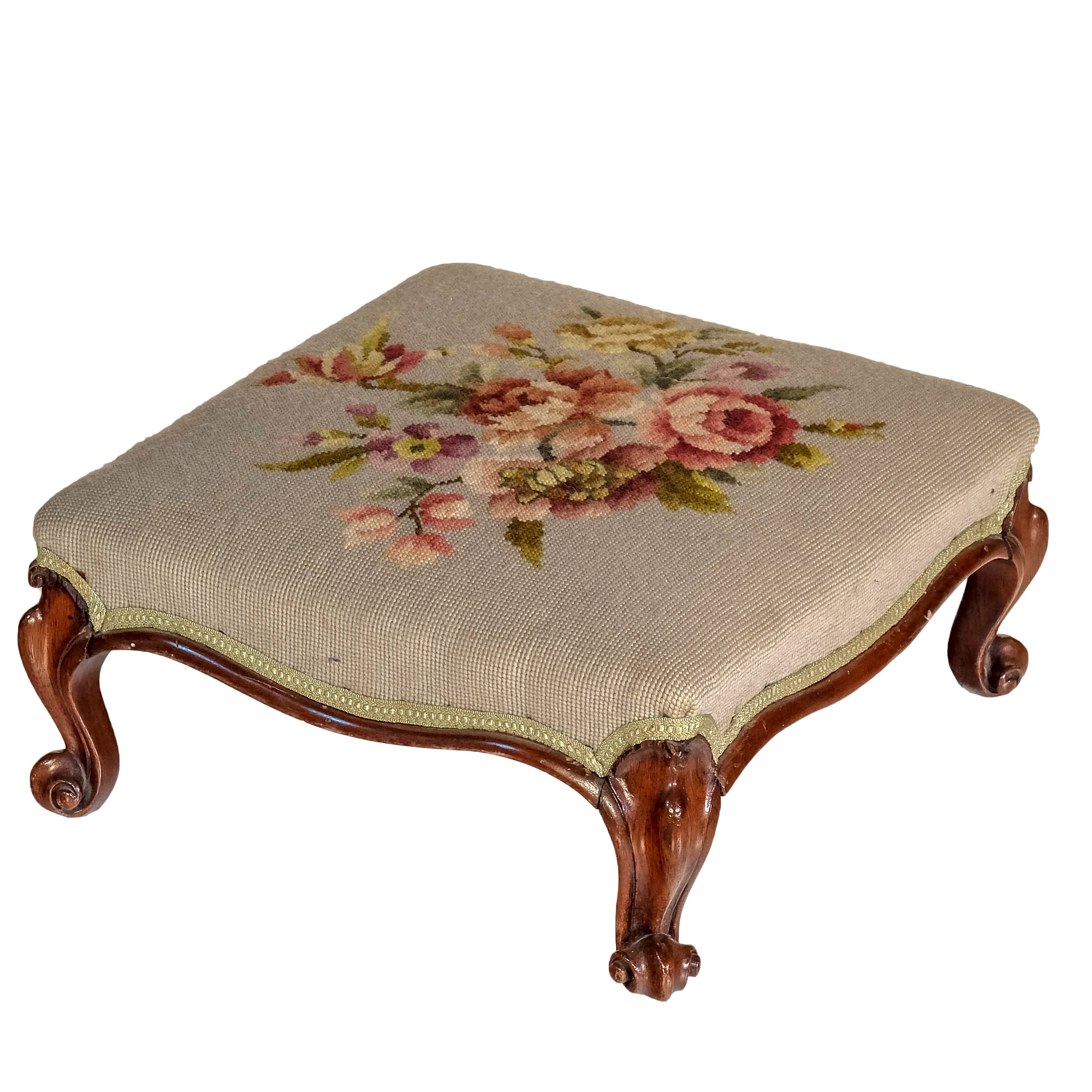 'Victorian Brazilian Rosewood and Mahogany Footstool with Tapestry Upholstery Circa 1870'