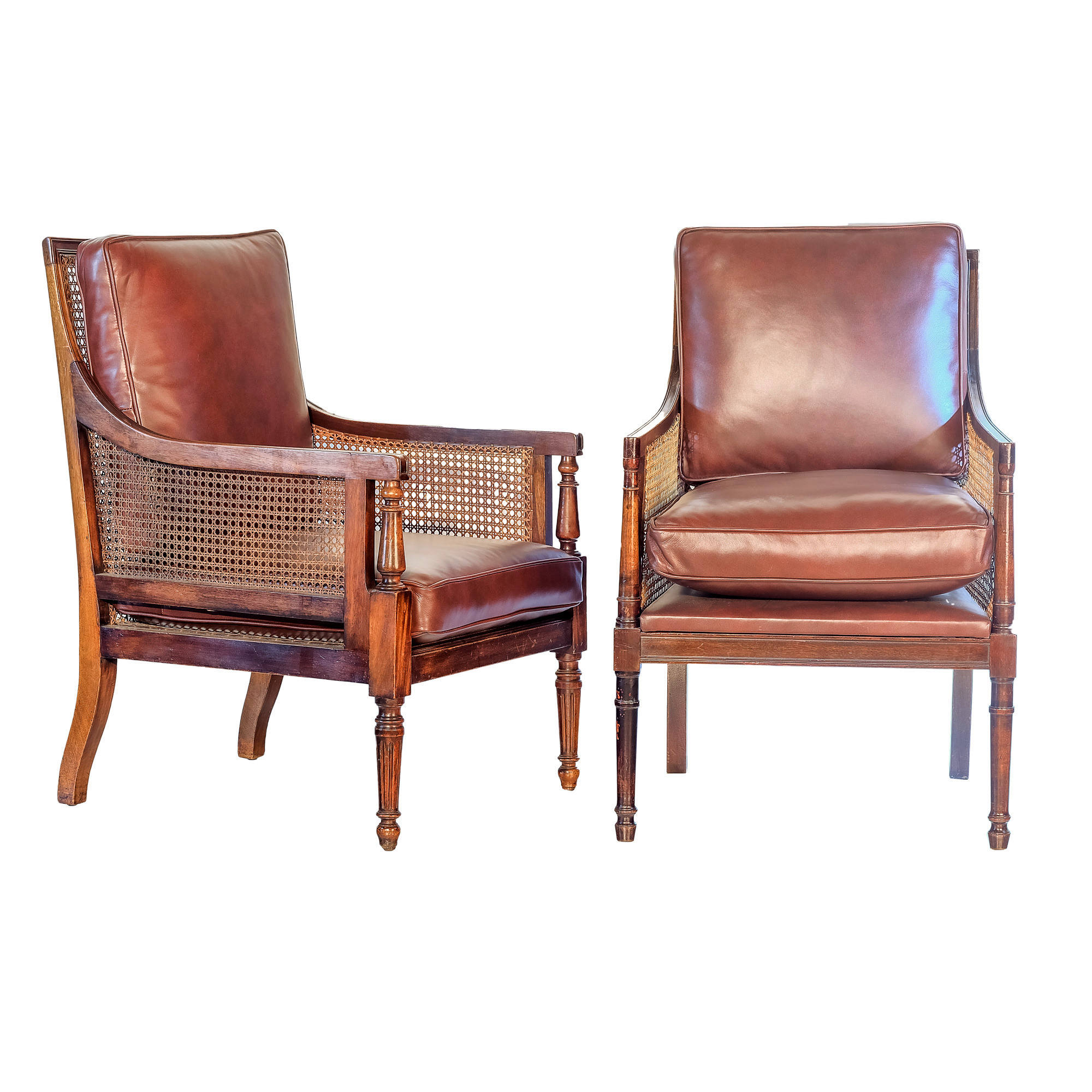 'Near Pair Sheraton Mahogany Cane and Maroon Leather Upholstered Bergeres 19th Century'