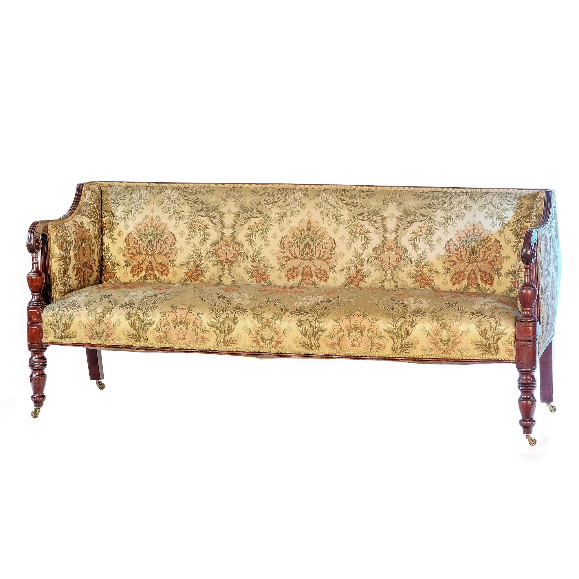 'George III Sheraton Mahogany and Floral Upholstered Sofa Circa 1800'