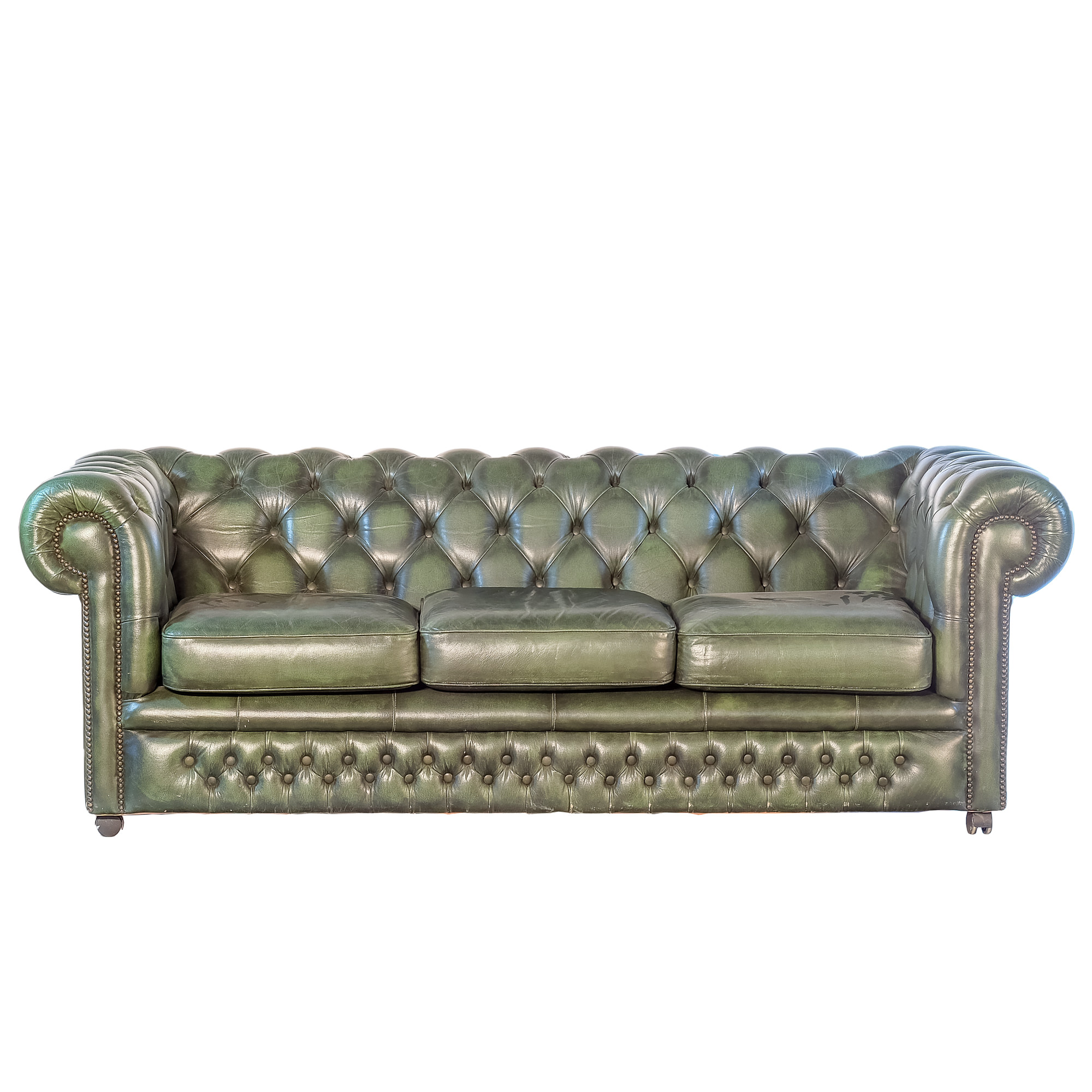 'Gascoigne Green Leather Chesterfield Sofa Late 20th Century '