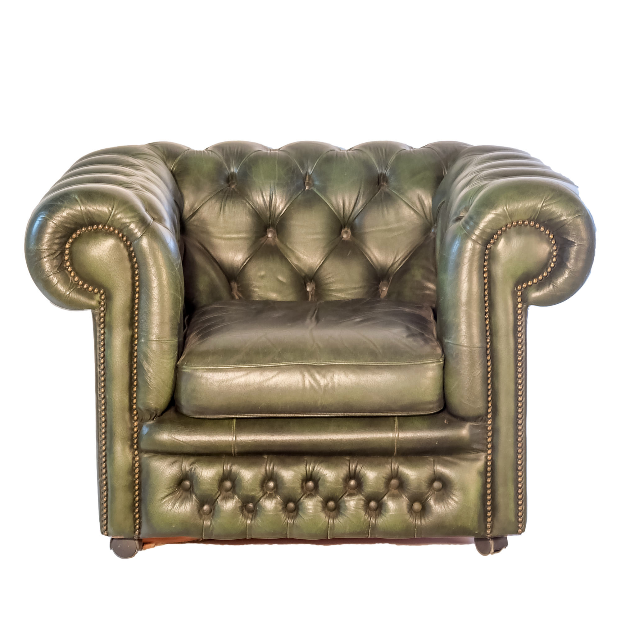 'Gascoigne Green Leather Chesterfield Armchair Late 20th Century '