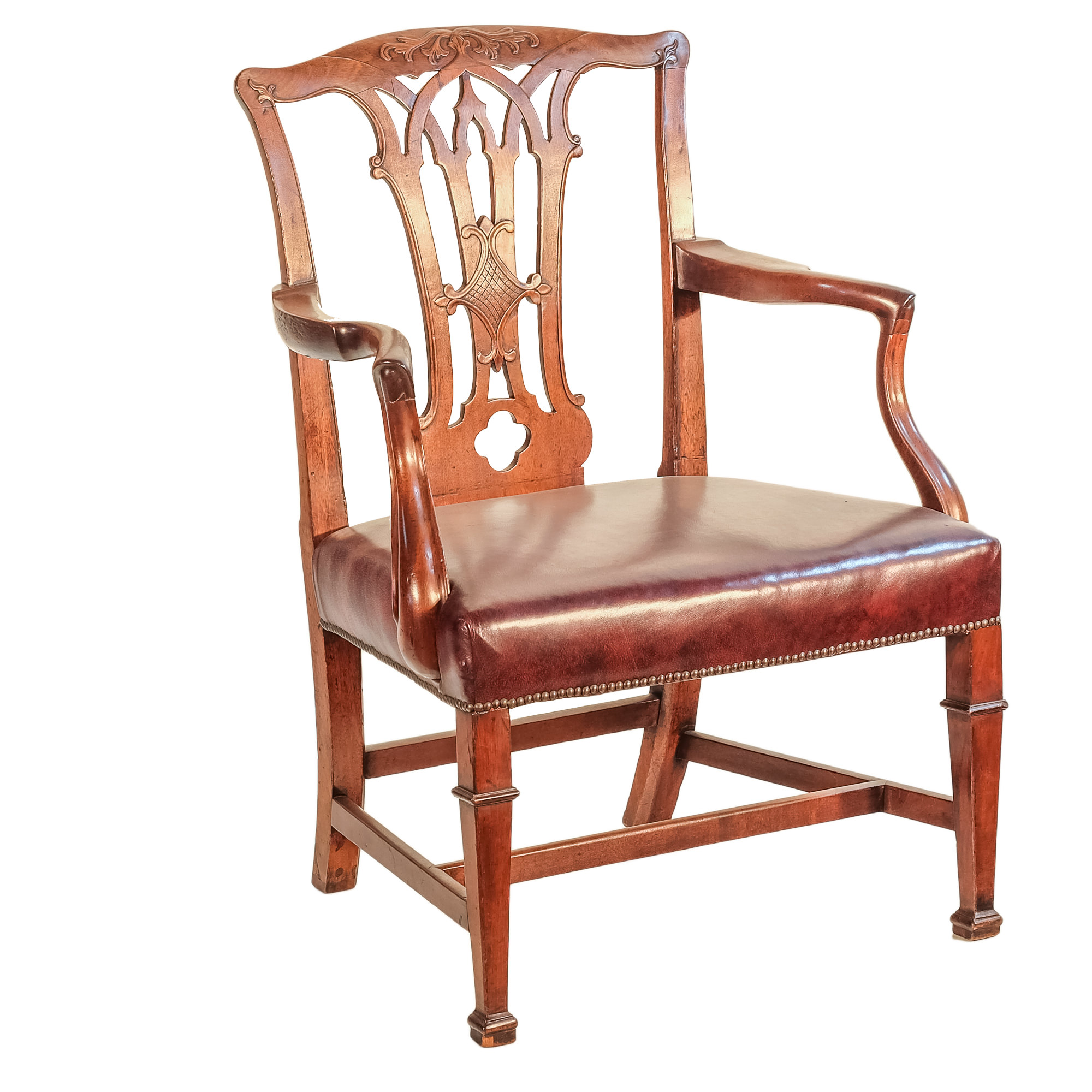 'Chippendale Style Mahogany Elbow Chair 19th Century '