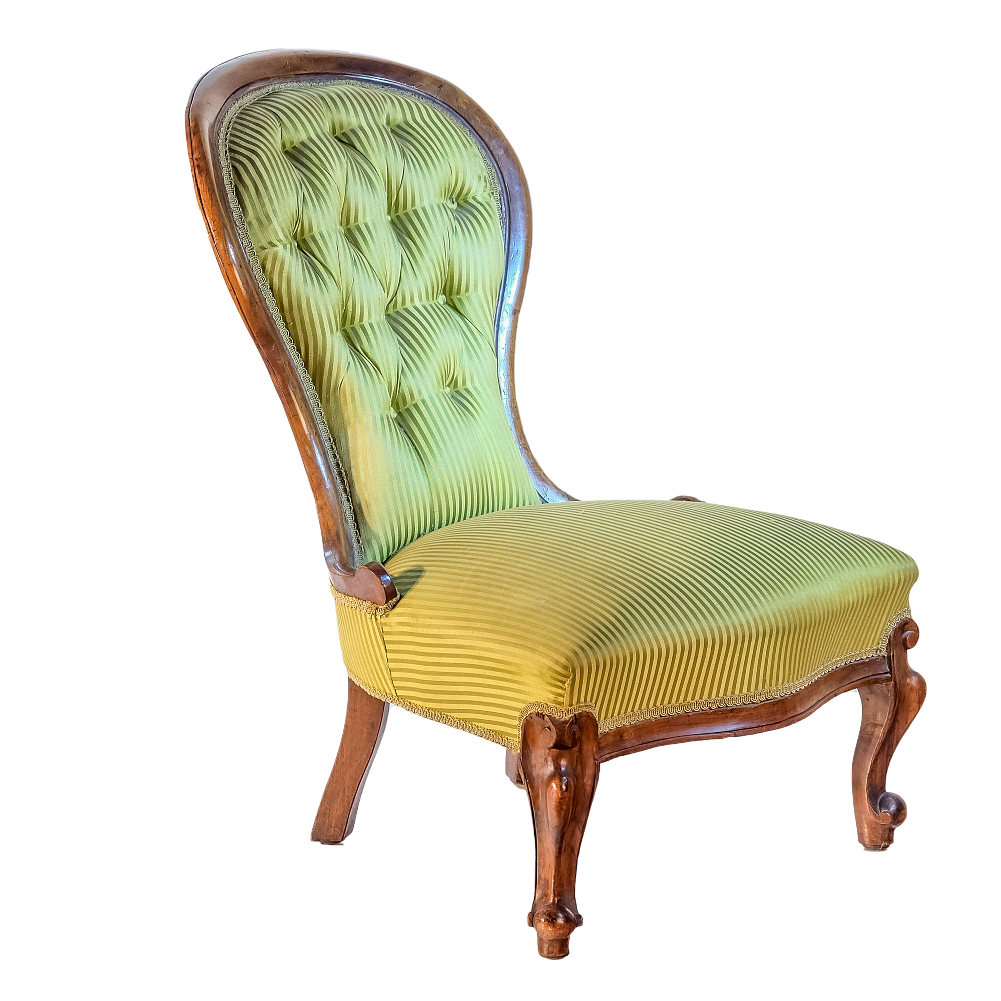 'Victorian Mahogany Grandmother Chair with Striped Satin Brocade Upholstery Circa 1880'