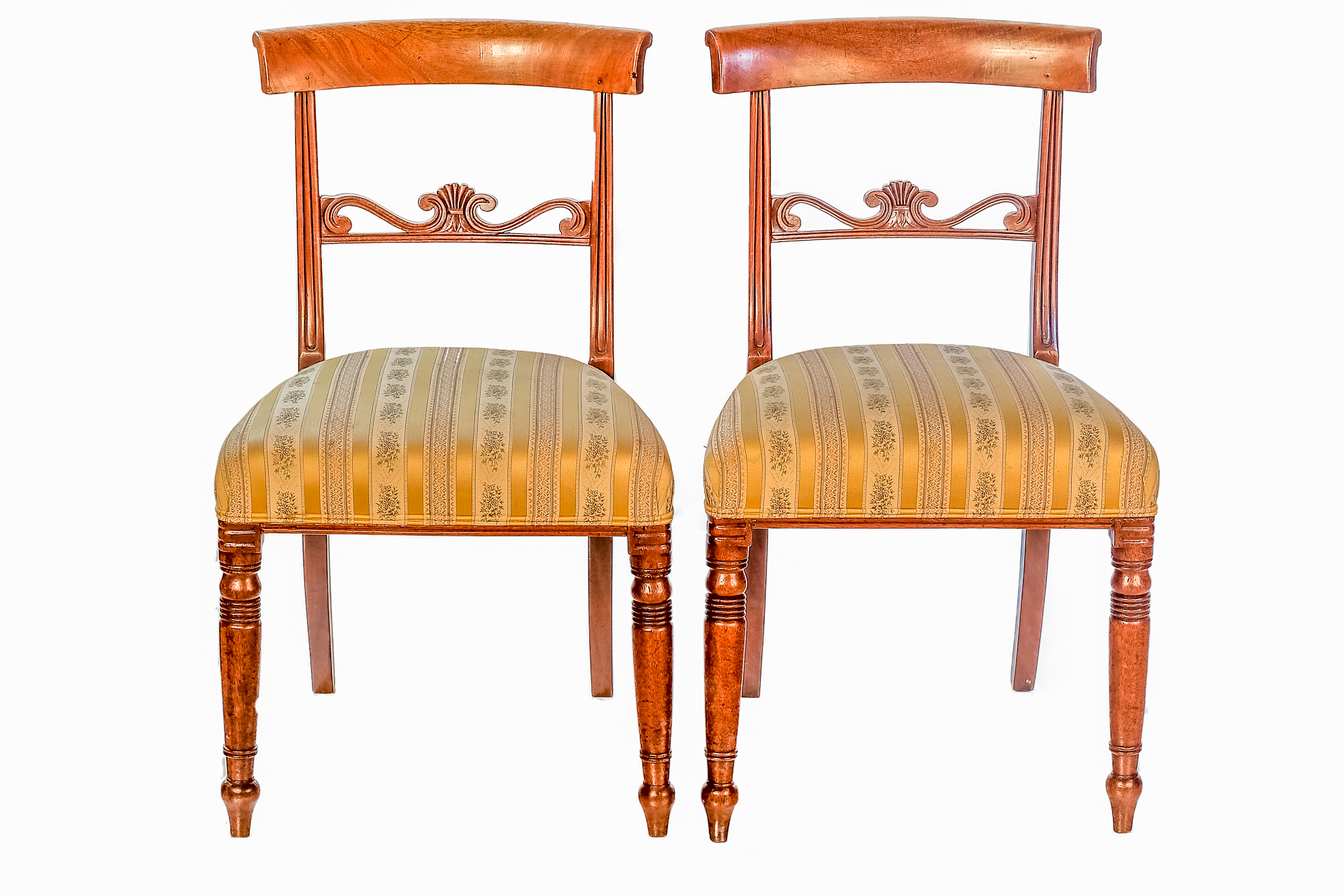 'Pair of Regency Period Carved Mahogany Upholstered Dining Chairs Circa 1820'