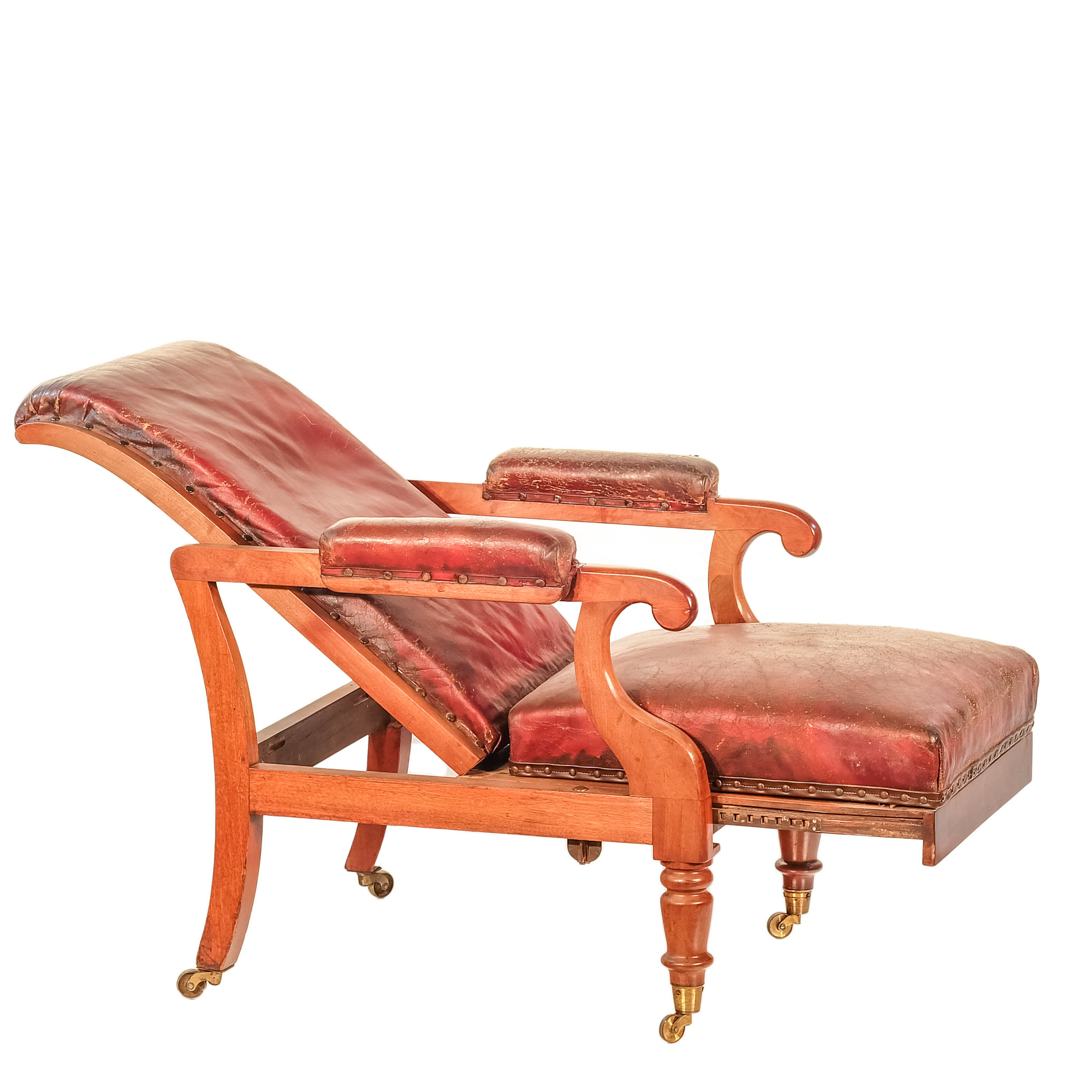 'Early Victorian Mahogany Reclining Armchair with Maroon Leather Upholstery Circa 1850'