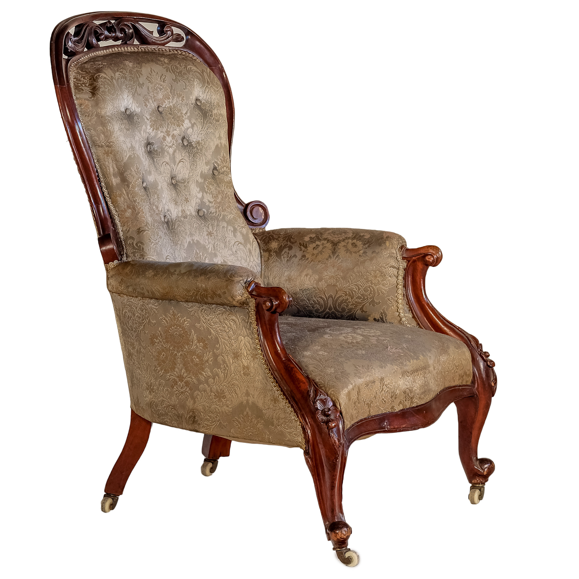 'Victorian Mahogany Salon Chair with Pierced and Carved Crest Circa 1880'