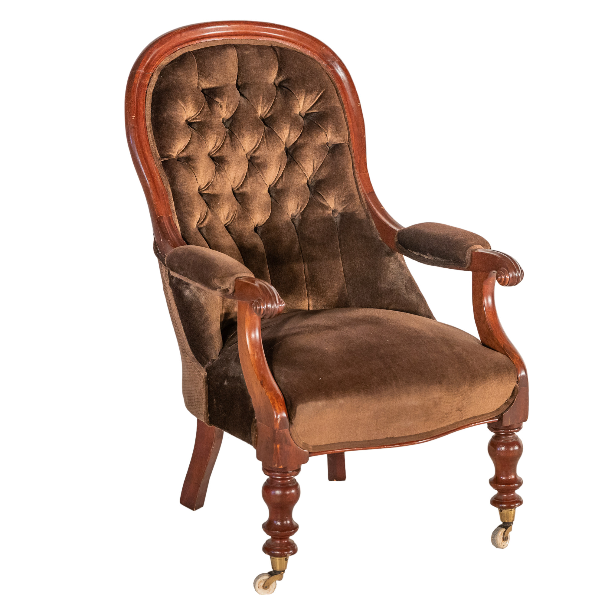 'Victorian Mahogany Salon Chair with Brown Velvet Upholstery Circa 1880'