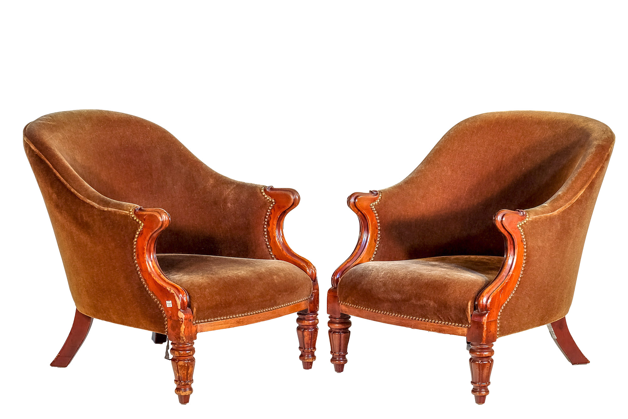 'Pair Victorian Mahogany Spoon Back Armchairs Olive Green Velvet Upholstery Circa 1860'
