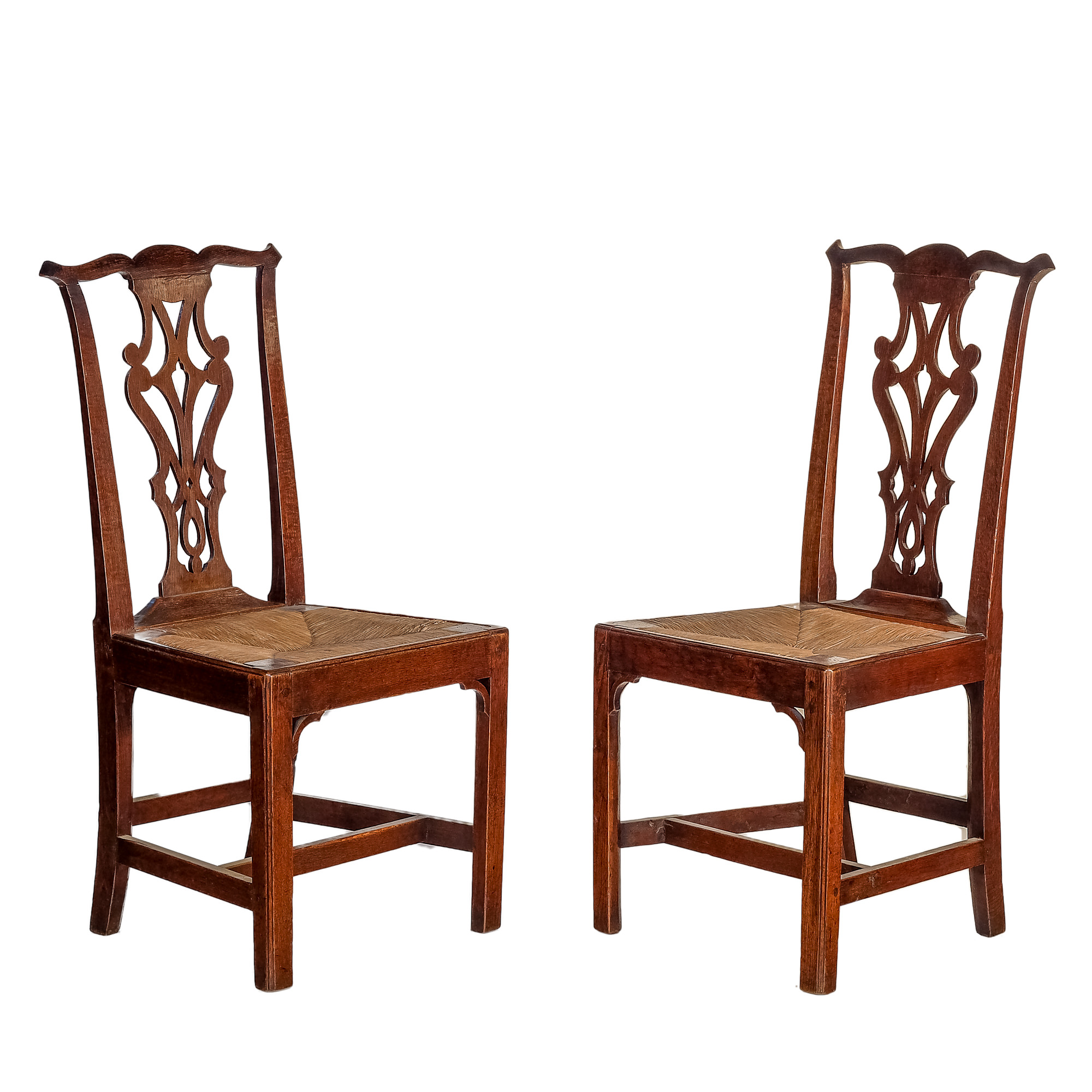 'A Pair of Georgian Country Oak Dining Chairs with Drop-in Rush Seats 19th Century'