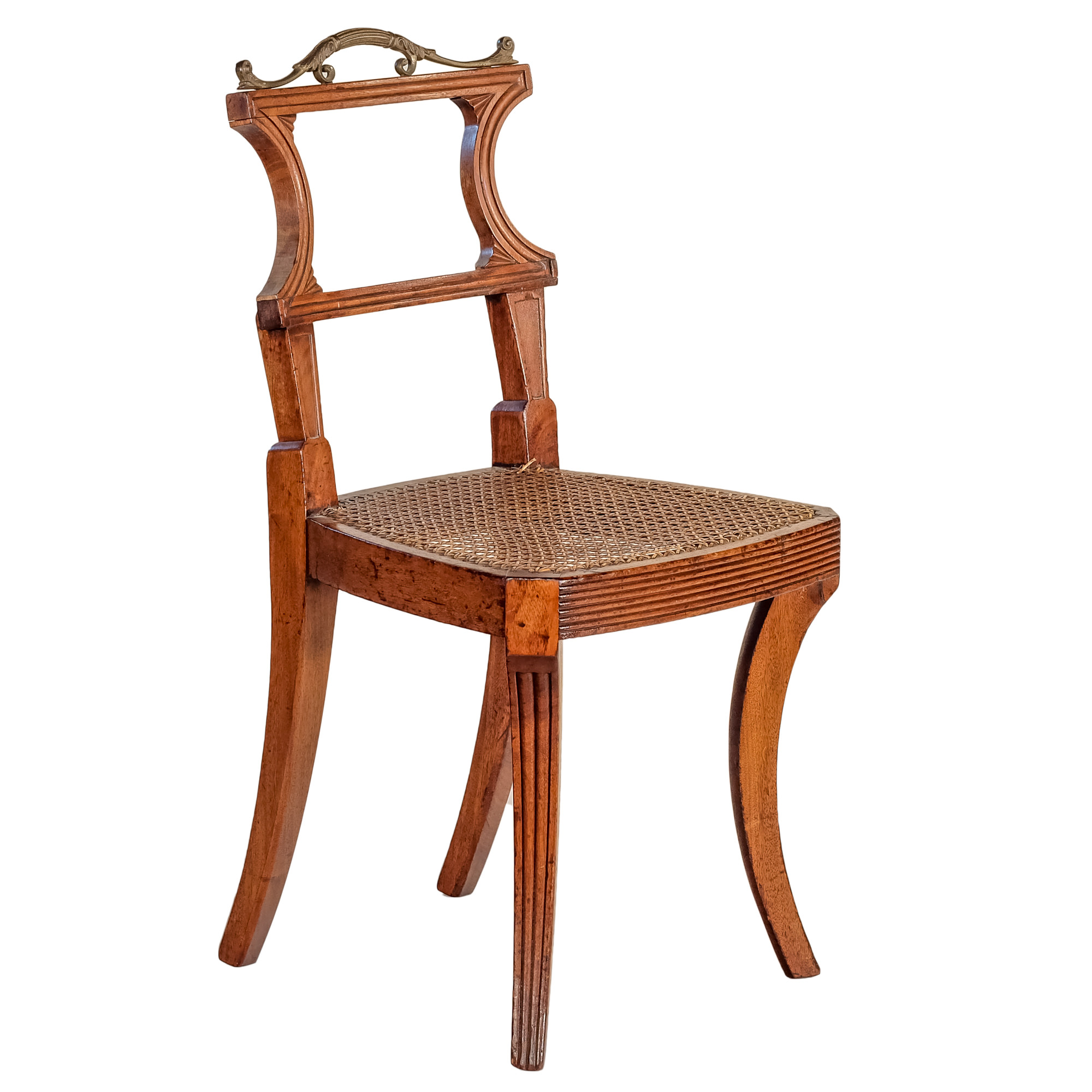 'Regency Period Mahogany and Ormolu Mounted Hall Chair with Caned Seat Circa 1815'