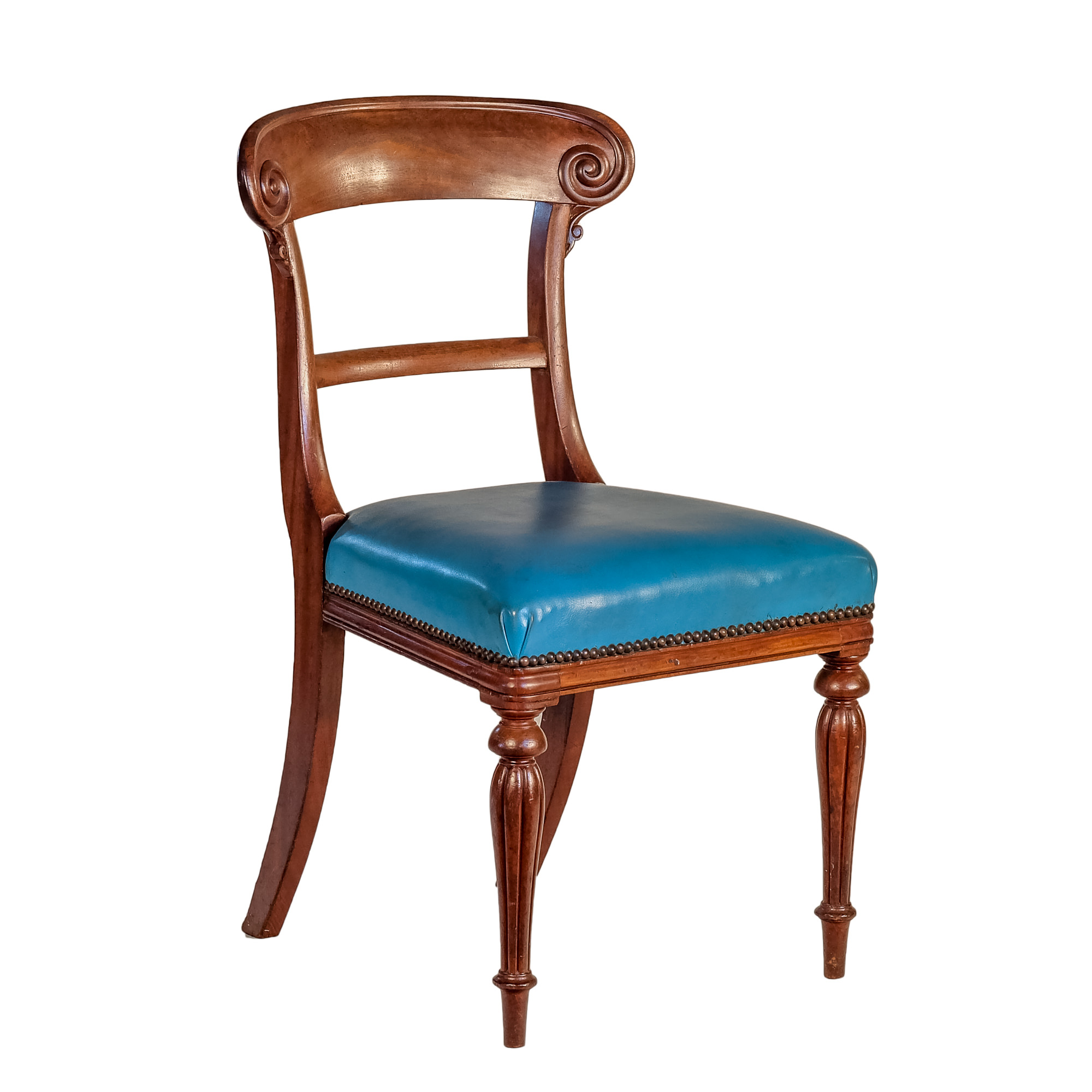 'Victorian Mahogany Dining Chair with Blue Leather Upholstery Circa 1860'
