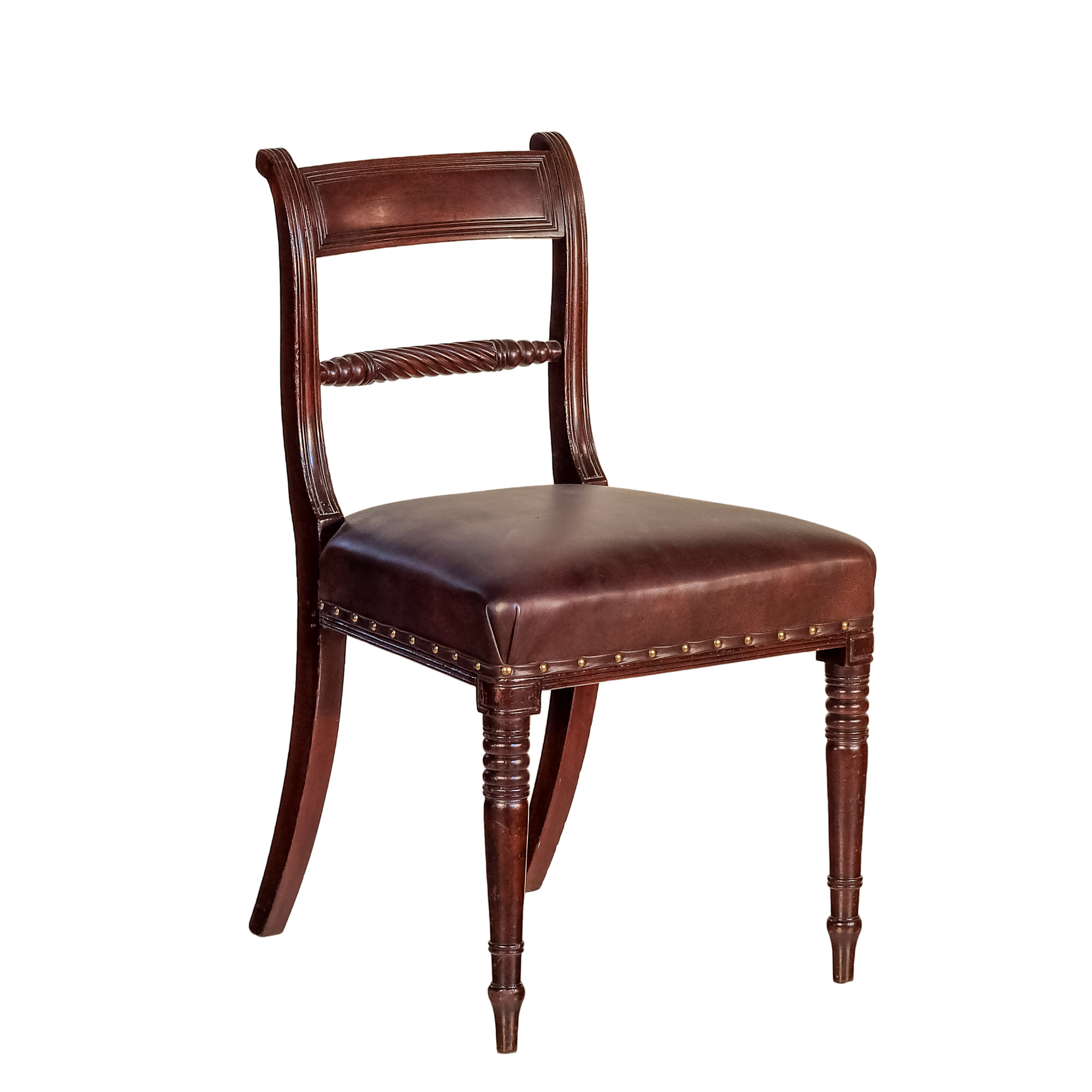 'Regency Period Mahogany Dining Chair with Brown Leather Upholstery Circa 1820'