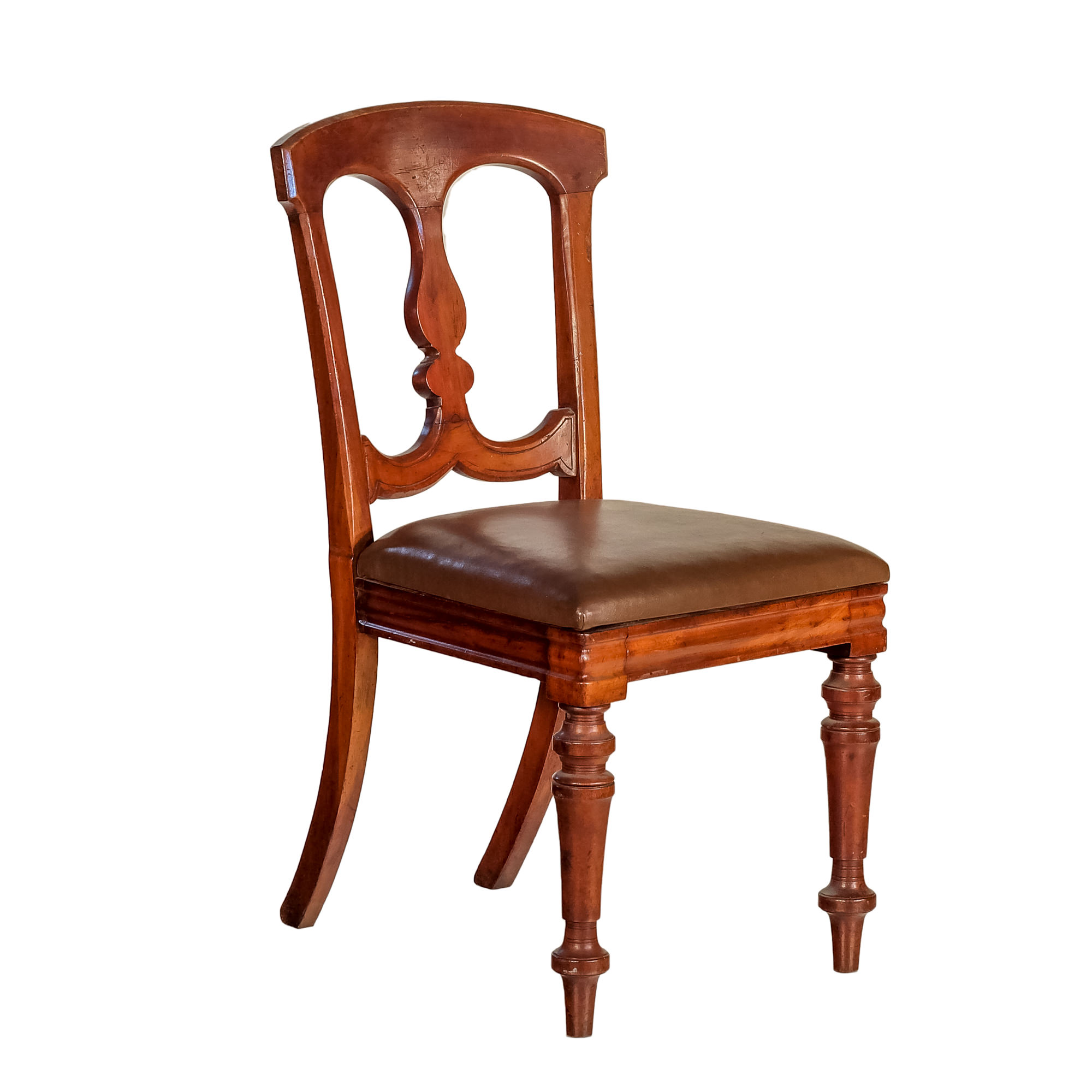 'Late Victorian Mahogany Dining Chair with Tan Leather Upholstery Circa 1890'