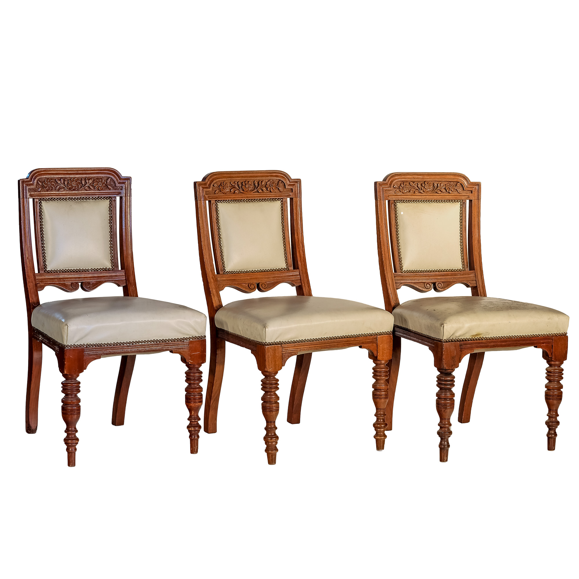 'Three Edwardian Carved Walnut Dining Chairs with Ivory Leather Upholstery Circa 1910'