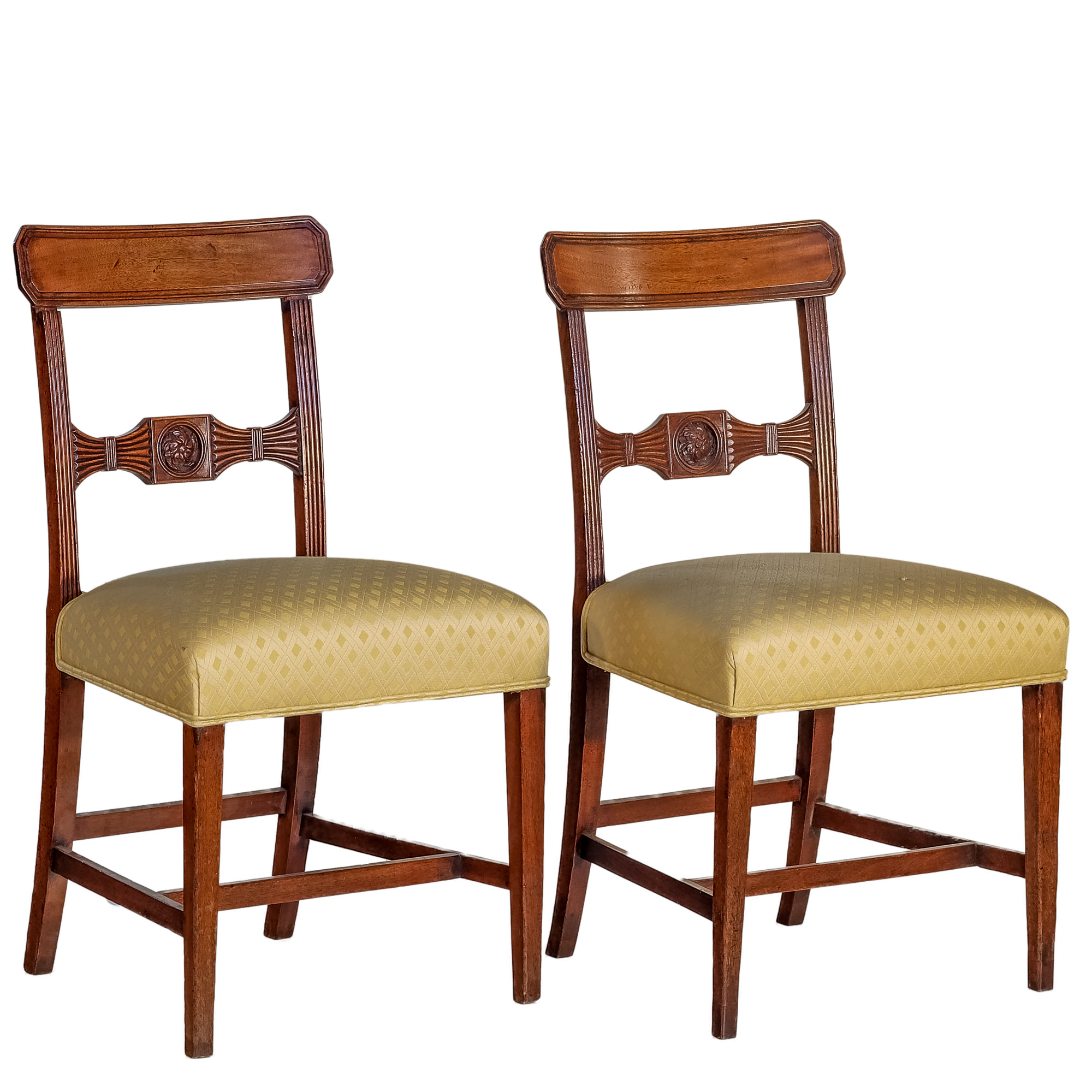 'A Pair of George III Sheraton Carved Mahogany Dining Chairs Circa 1800'