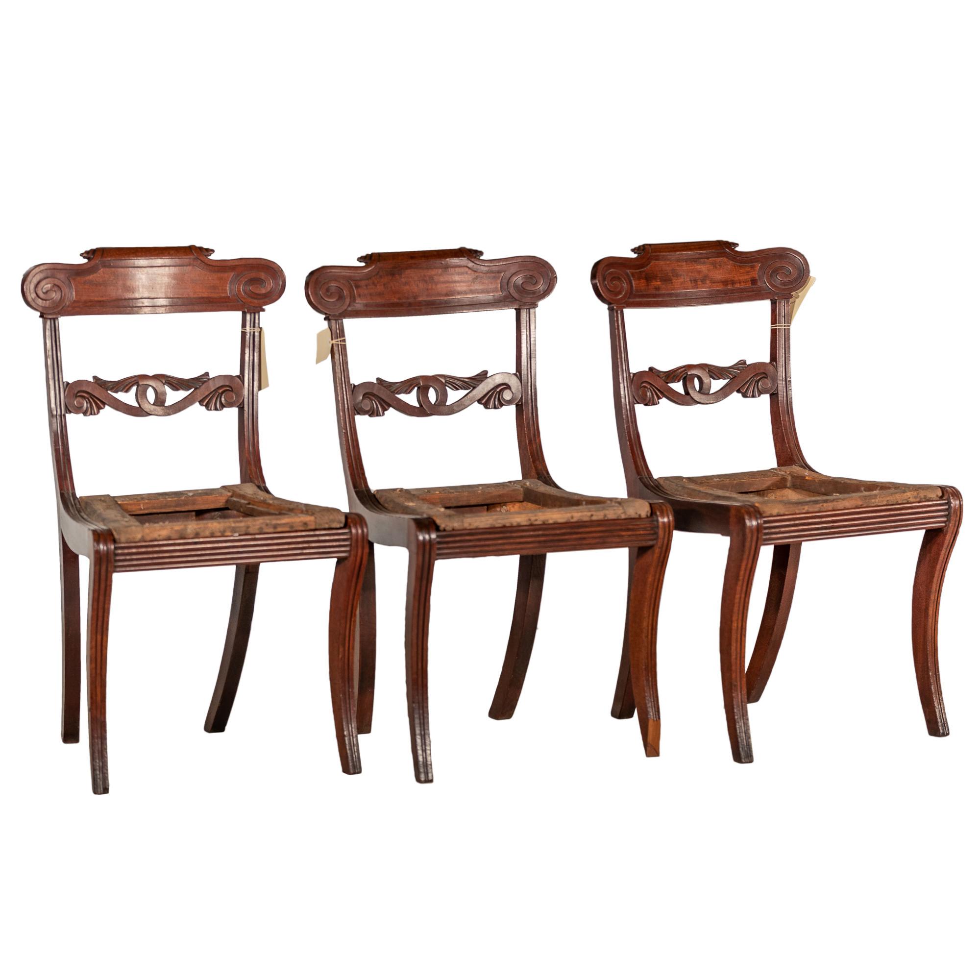 'Three Regency Period Mahogany Dining Chairs Circa 1820'