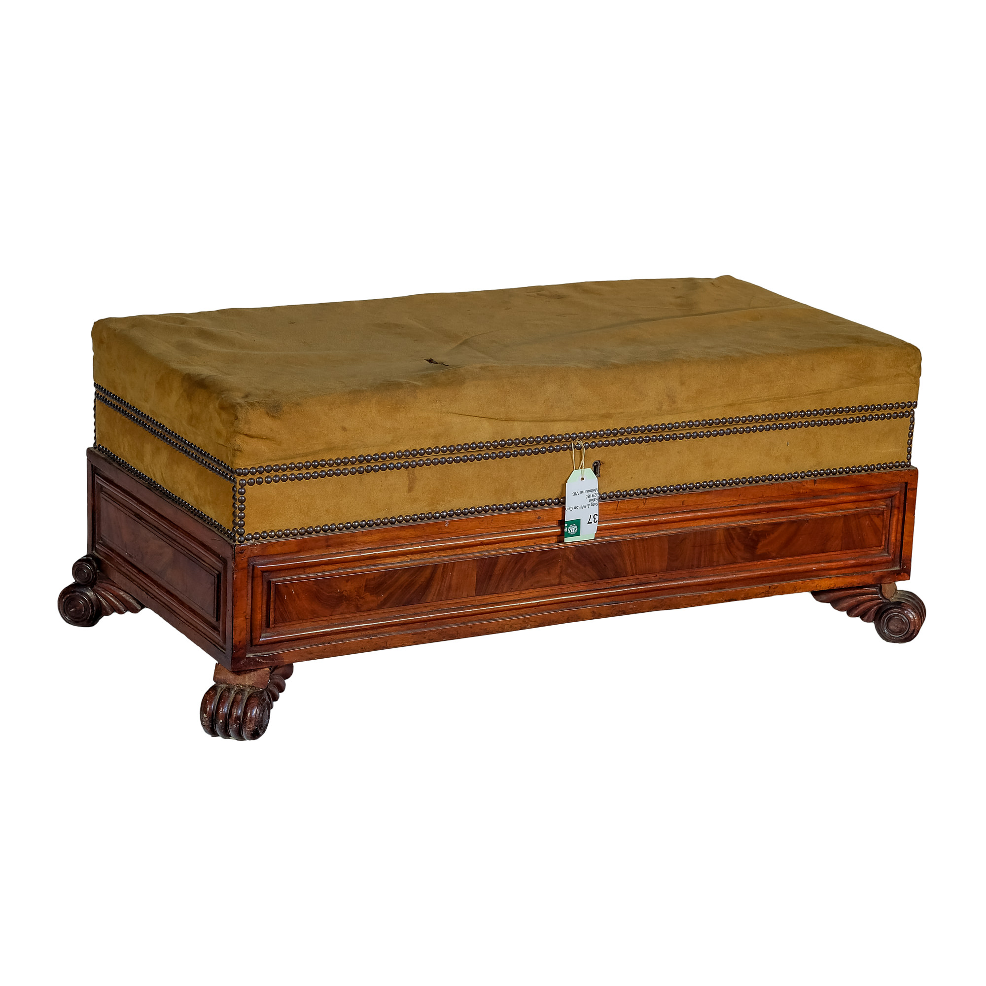 'William IV Mahogany Sarcophagus Ottoman with Lions Paw Feet Circa 1835'