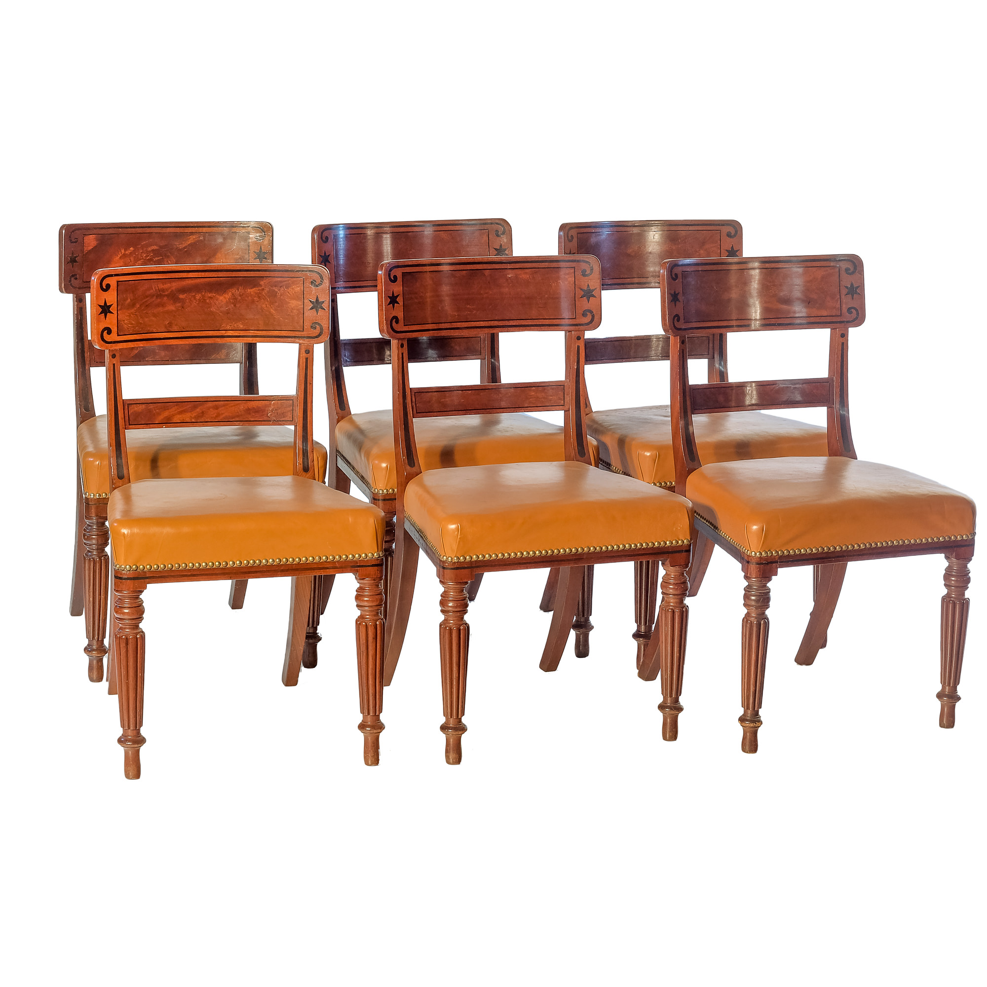'A Fine Set of Six Regency Period Mahogany and Ebony Inlaid Dining Chairs Circa 1820'