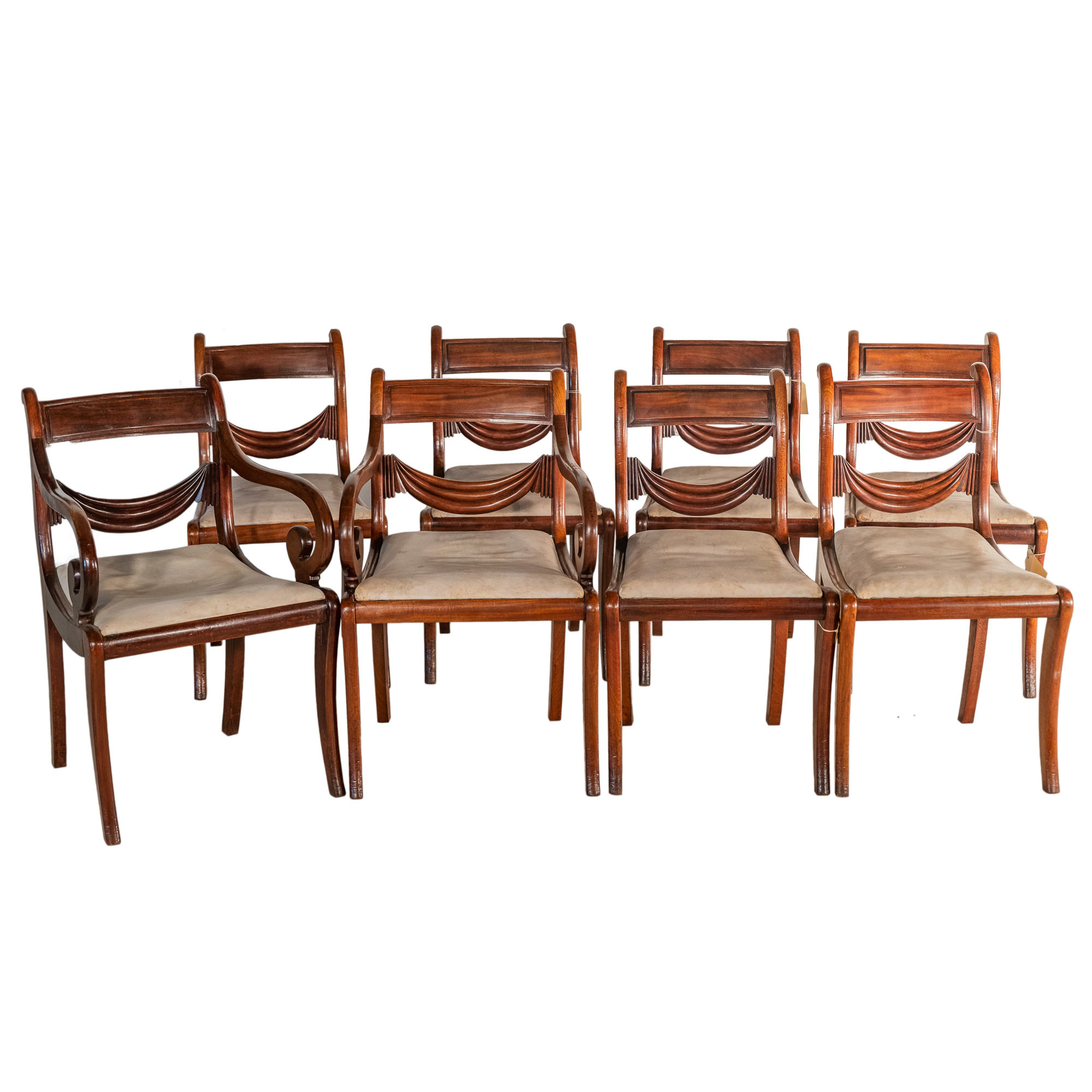 'Set of Eight Regency Period Mahogany Dining Chairs with Carved Ribbon Swag Splats Circa 1830'
