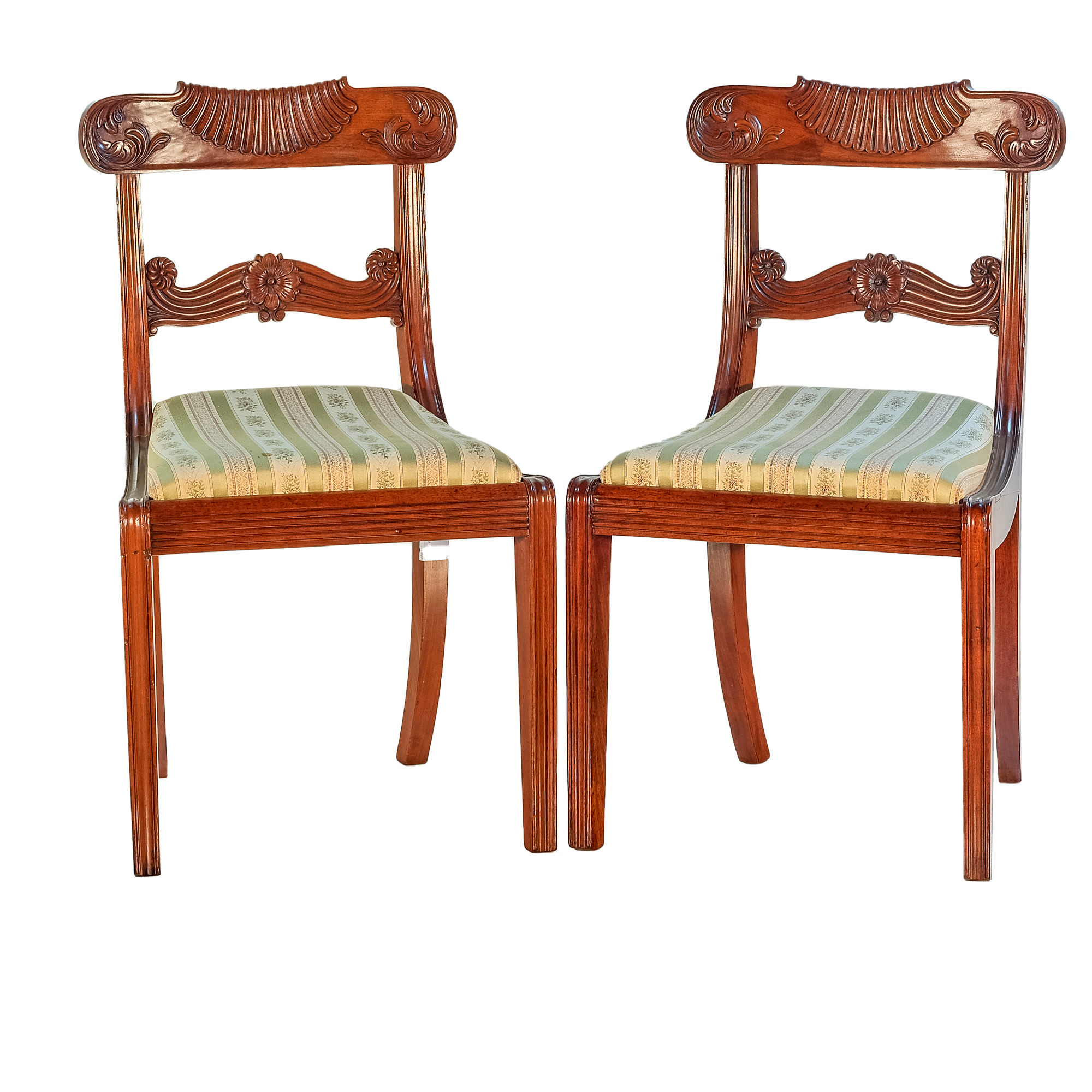 'Pair Regency Period Mahogany Dining Chairs Circa 1820'