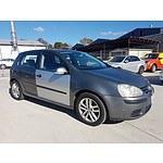 9/2006 Volkswagen Golf 2.0 FSI Comfortline 1K 5d Hatchback Grey 2.0L