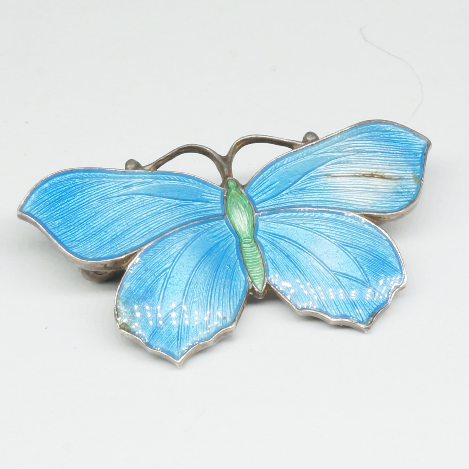 'Sterling Silver Enamelled Butterfly Brooch '