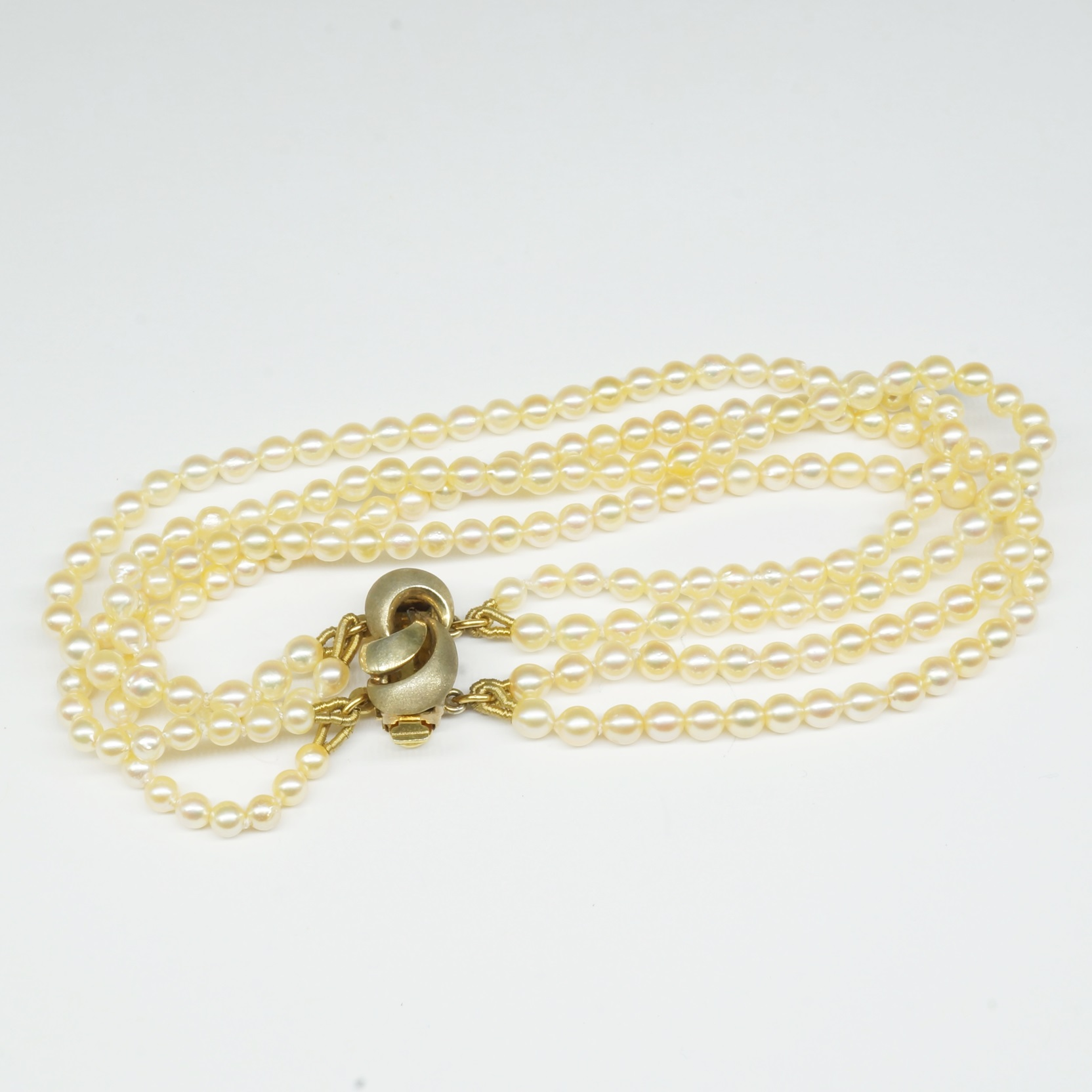 'Four Row Cultured Pearl Bracelet with Gold Plated Silver Clasp'