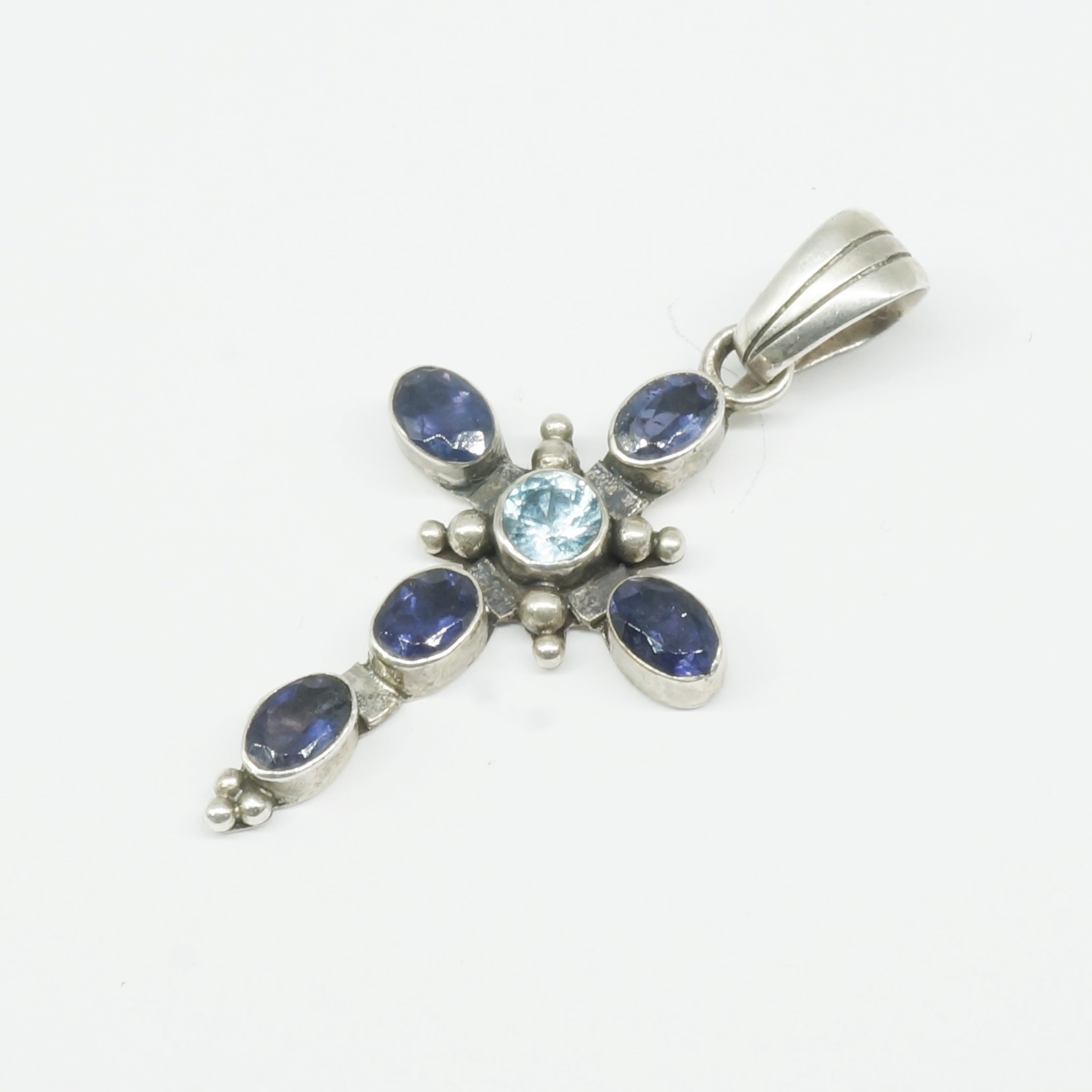 'Sterling Silver and Semi Precious Blue Gemstones Cross '