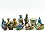 Group of Miniature Chinese Cloisonne Vases and Vessels