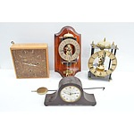 Four Clocks Including, Mantle Clock and Skeleton Clock