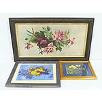Three Floral Still Life Oil Paintings