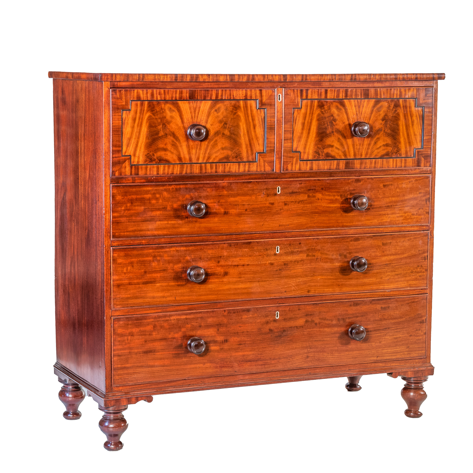 'George IV Mahogany and Satinwood Lined Secretaire Chest with Ebony Line Inlay Circa 1830'