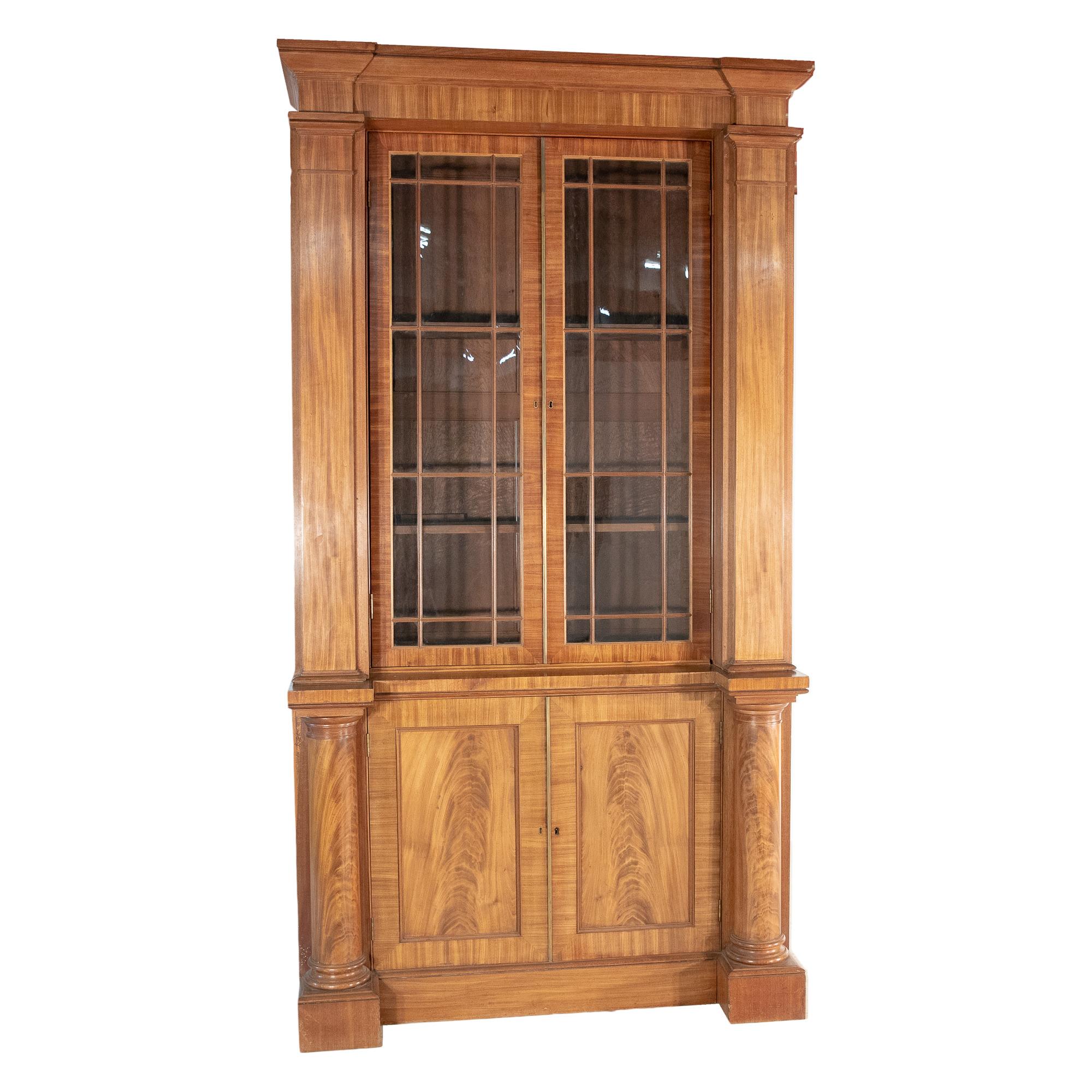 'William IV Pale Mahogany Astragal Glazed Bookcase of Architectual Form Circa 1835'