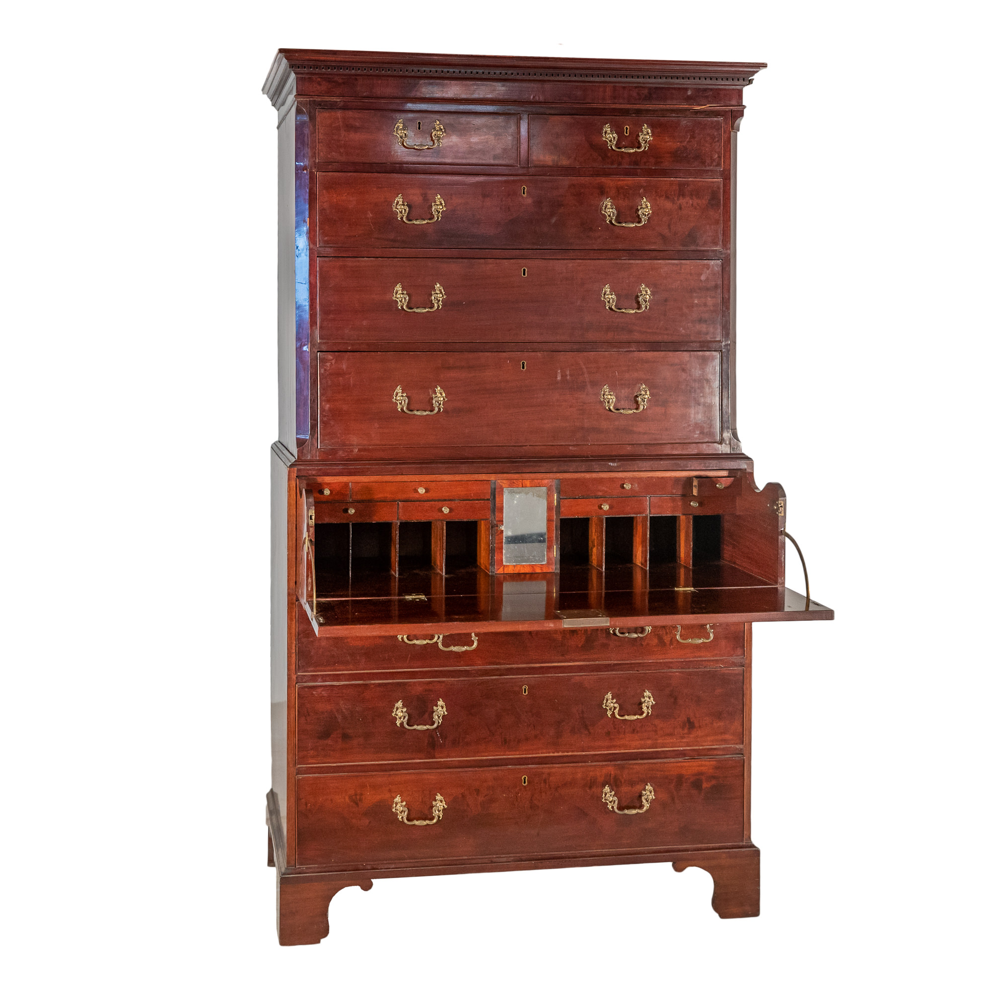 'Georgian Mahogany Chest on Chest with Secretaire Compartment Early 19th Century'