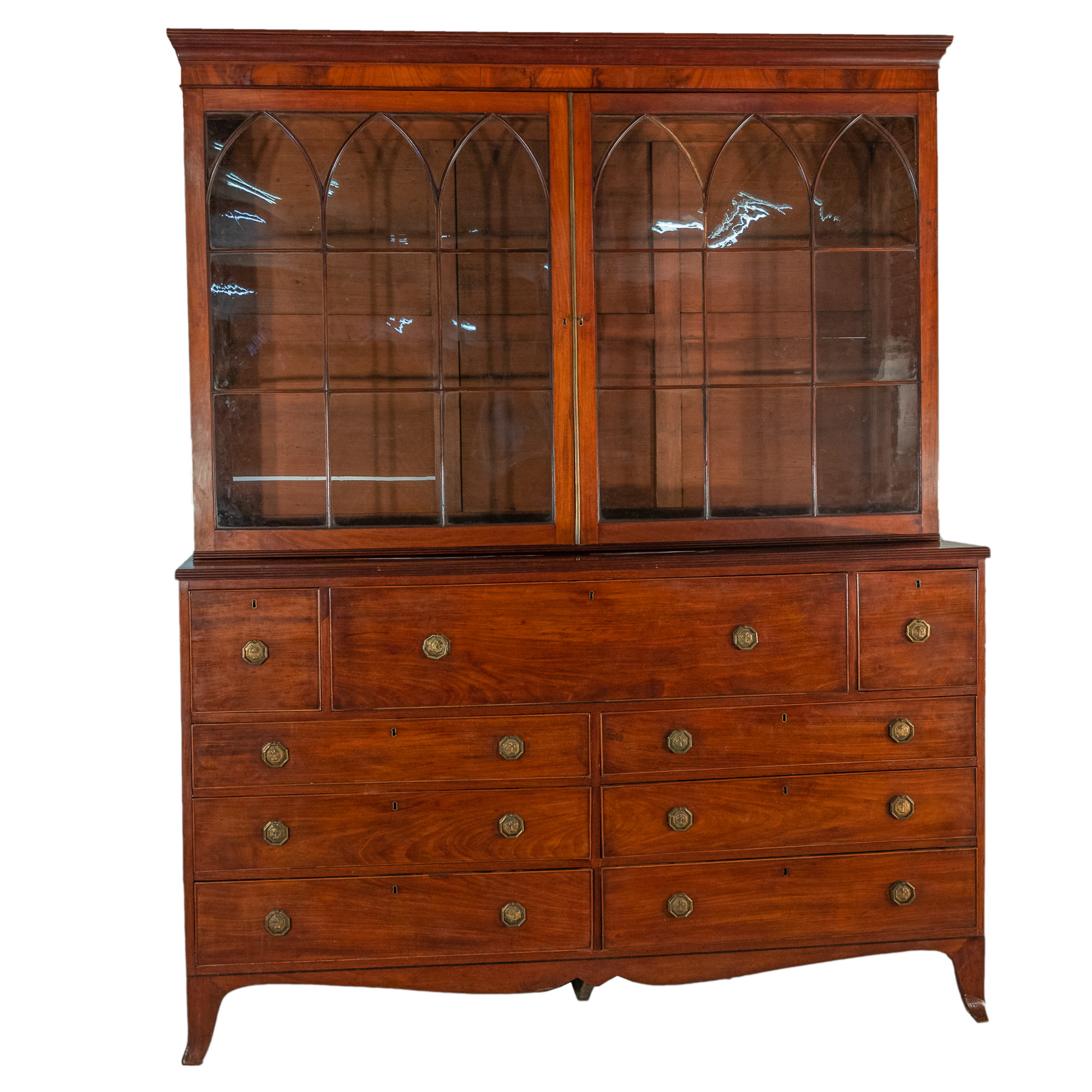 'Rare Extended Double Width George III Mahogany Astragal Glazed Secretaire Bookcase Circa 1800'