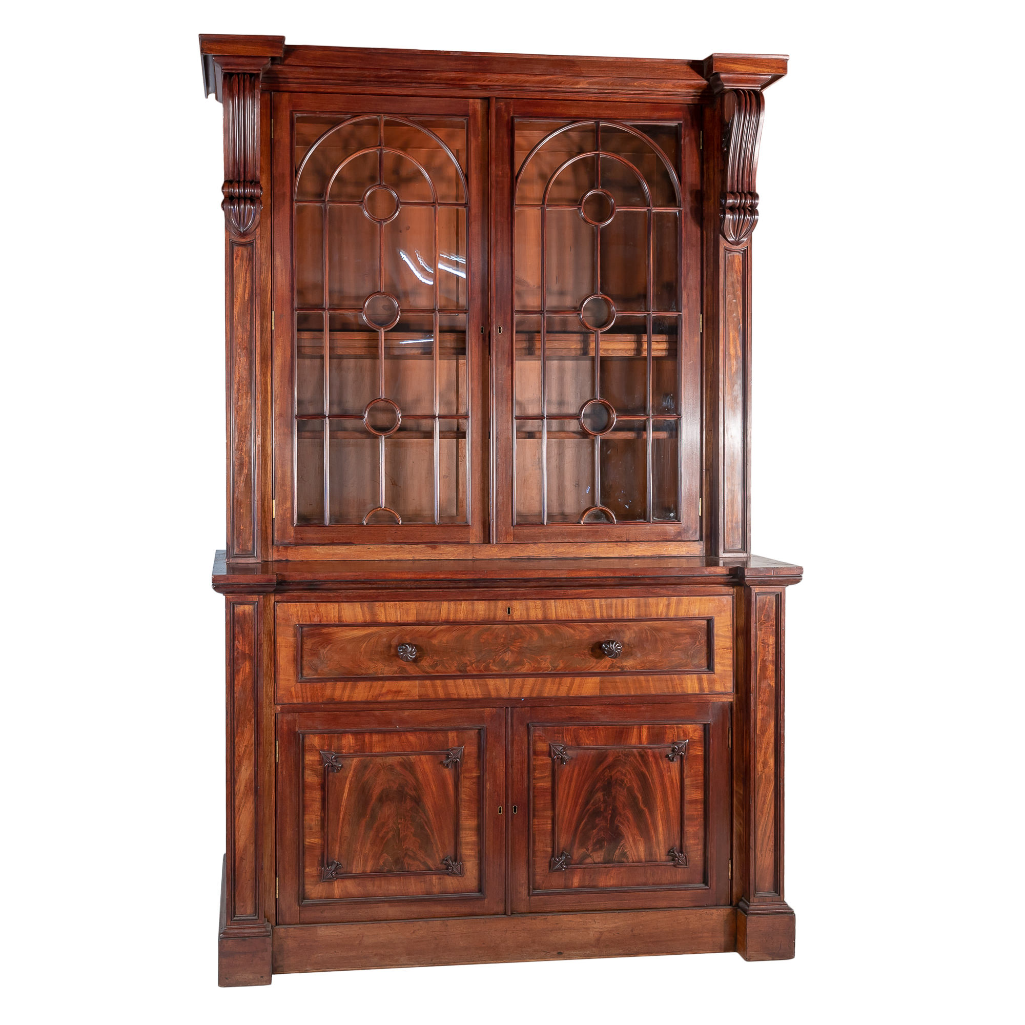 'Massive George IV Archtiectural Mahogany Secretaire Bookcase with Arched Glazed Doors Circa 1830'