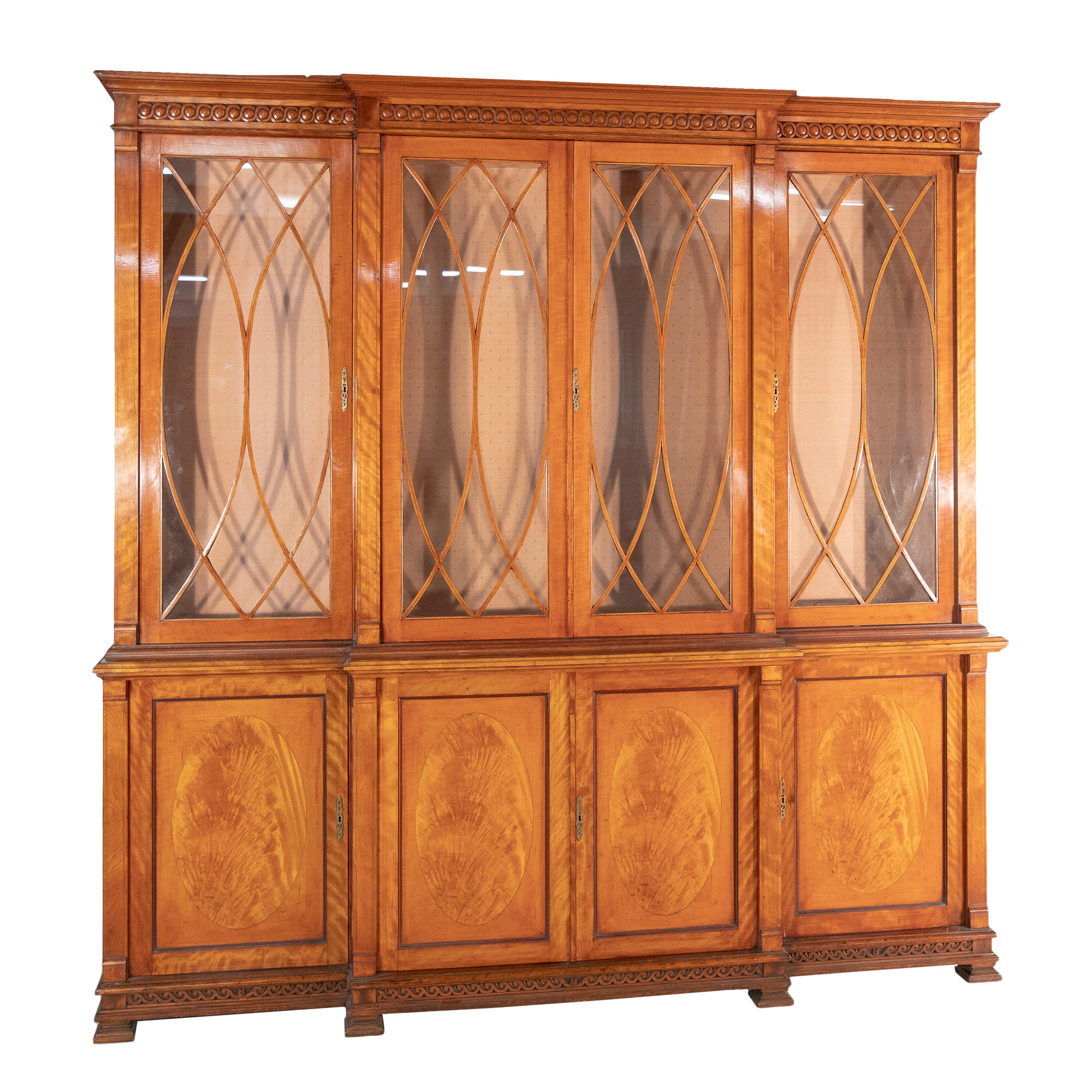 'Large Sheraton Revival Satinwood Breakfront Display Cabinet Bookcase 20th Century'