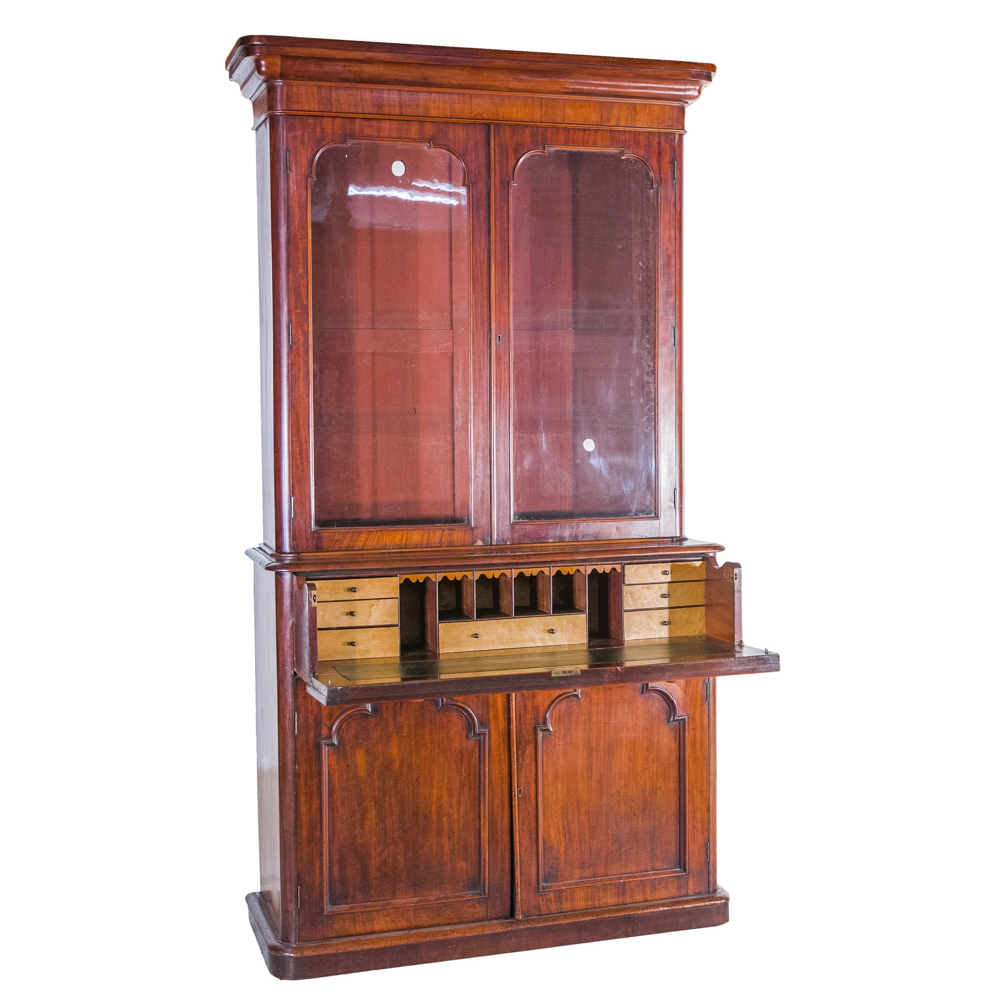 'Victorian Mahogany Secretaire Bookcase with Birdseye Maple Veneered Interior'