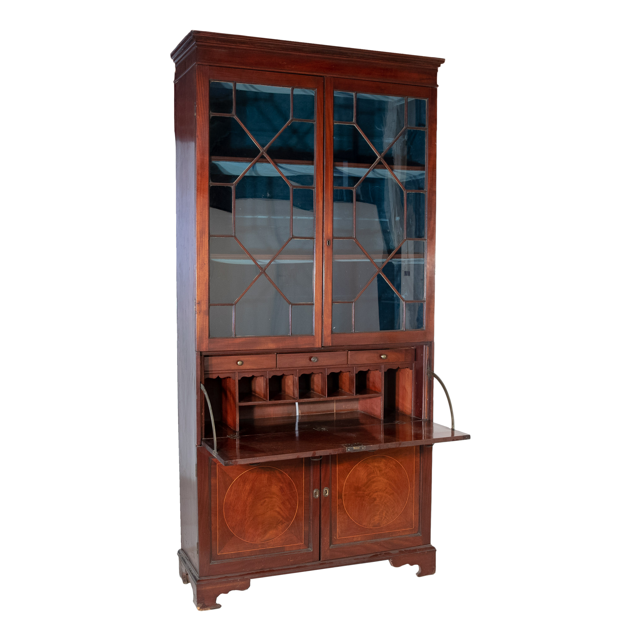 'Tall Georgian Style One Piece Mahogany and Boxwood Strung Secretaire Bookcase 19th Century'
