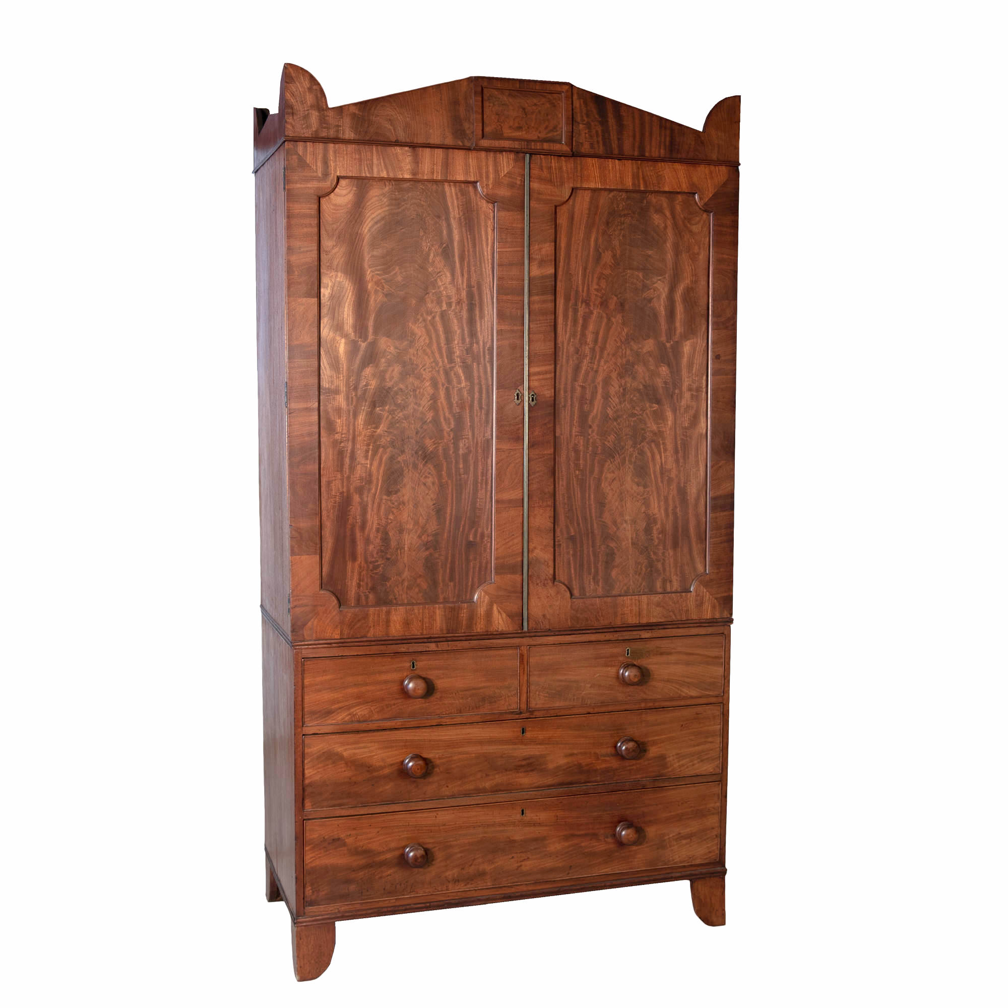 'Regency Period Mahogany Linen Press with Classical Grecian Pediment Early 19th Century'