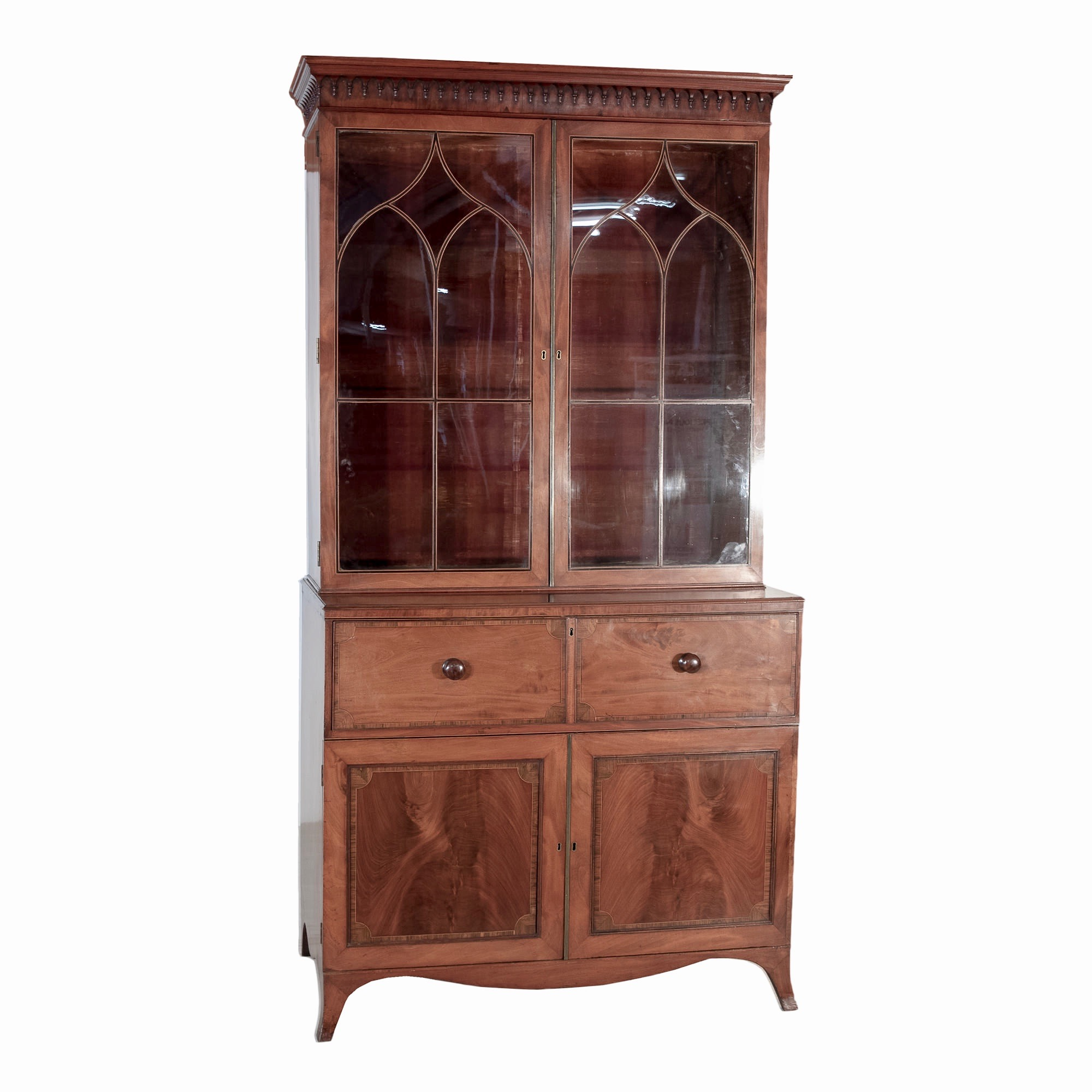 'George III String Inlaid and Crossbanded Mahogany Secretaire Bookcase with Cupboard Map Slides Circa 1800'