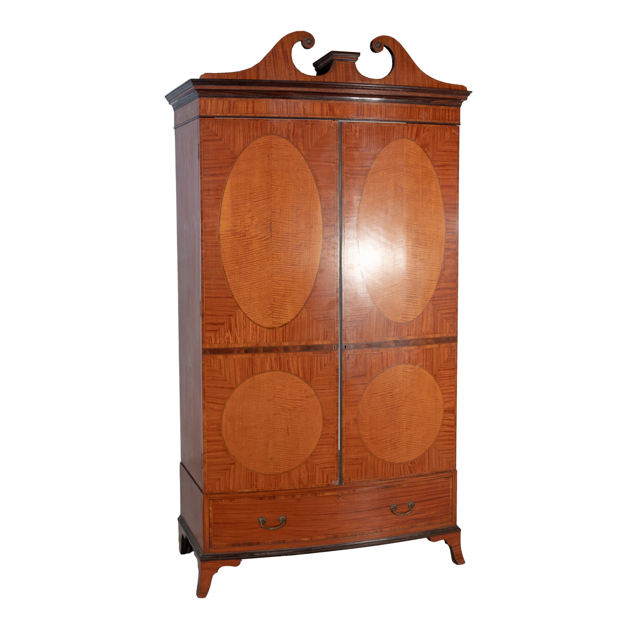 'Regency Style Crossbanded Satinwood and Walnut Bowfront Linen Press Late 19th Century'