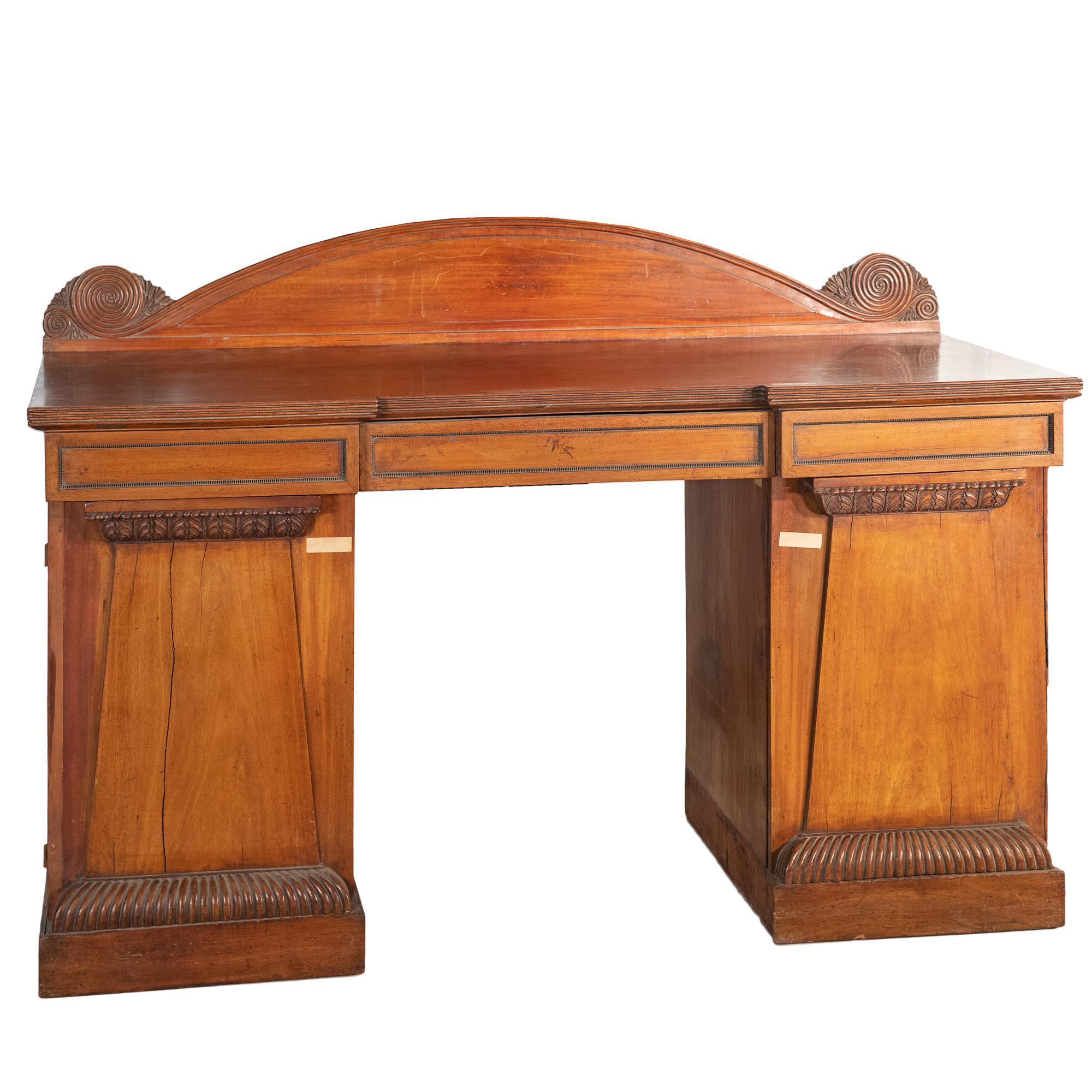 'Regency Mahogany Breakfront Pedestal Sideboard Circa 1820'