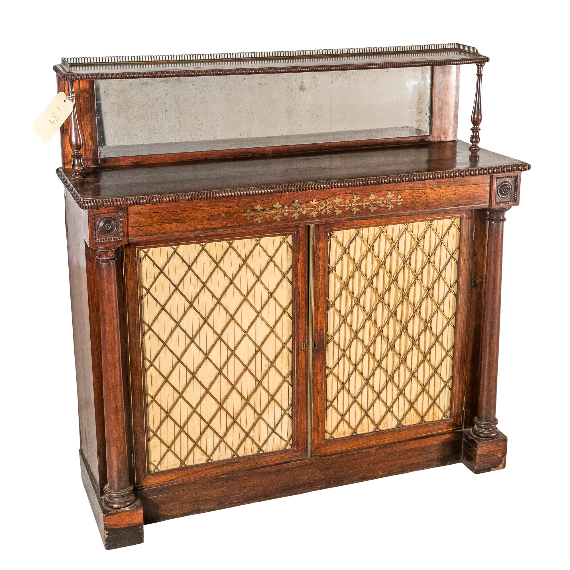'Late Regency Brass Inlaid Rosewood Chiffonier with Brass Gallery Doors and Pleated Satin Drapes Circa 1830'
