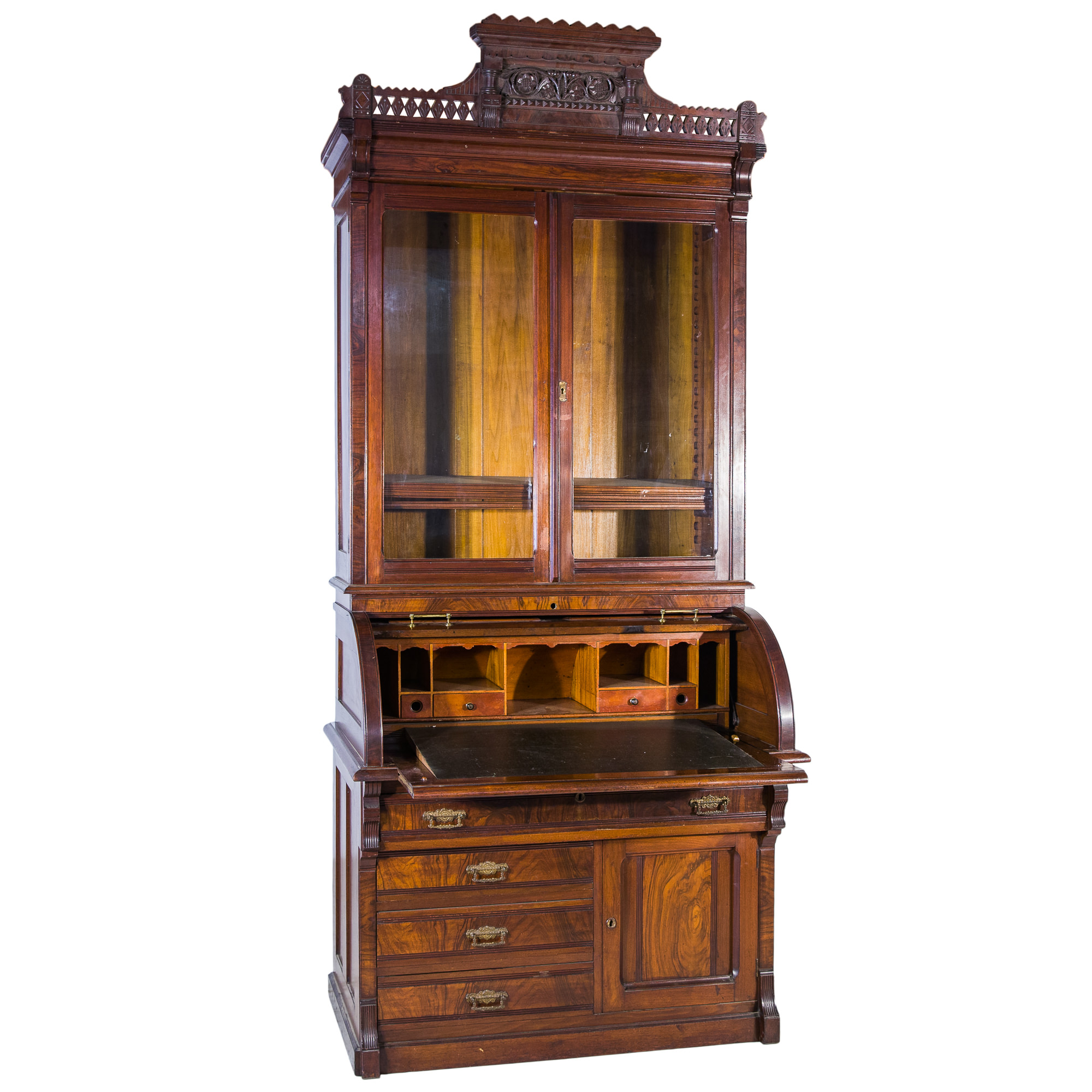 'Walnut Cylinder Top Secretaire Bookcase in the Manner of Charles Eastlake Circa 1890'