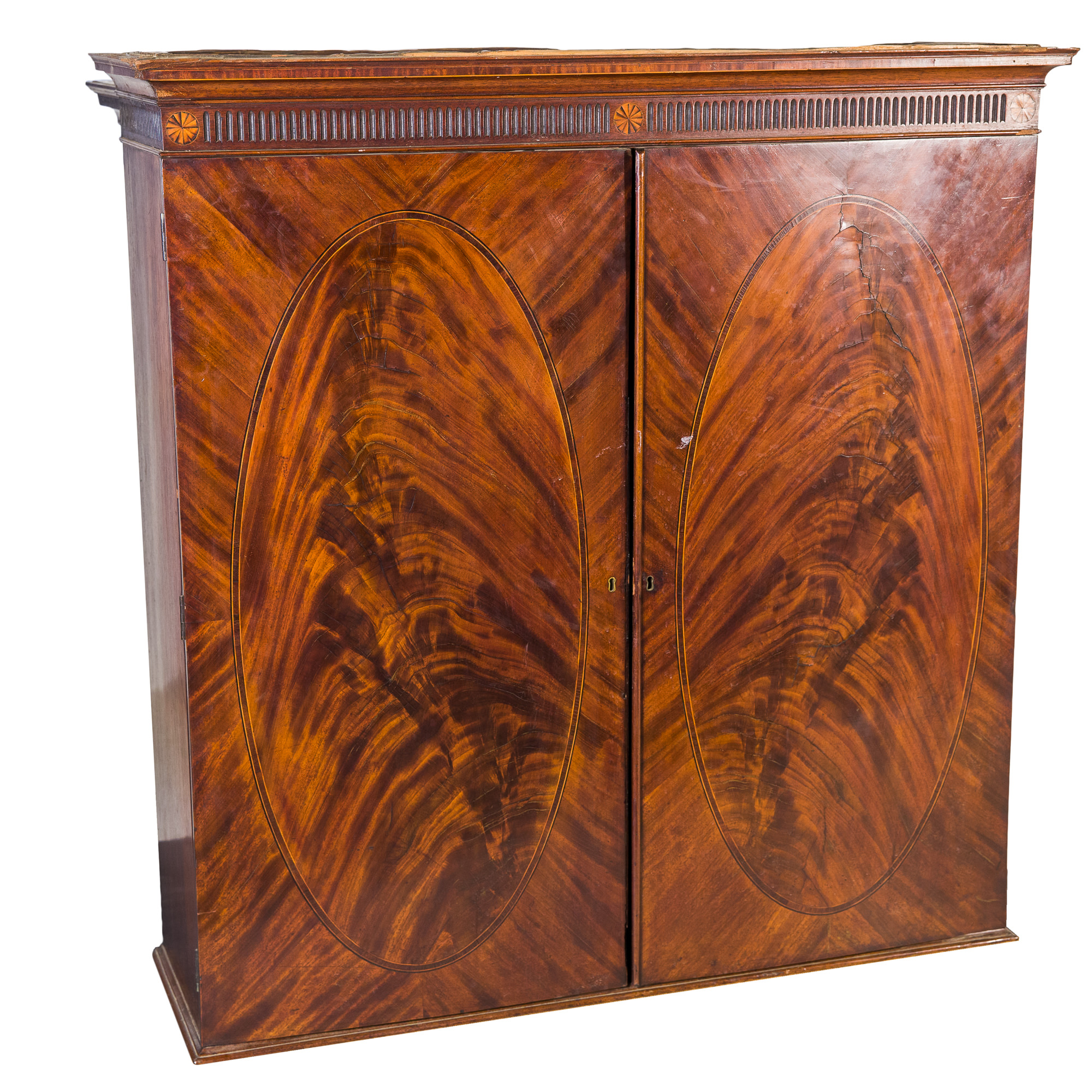 'Mahogany Blind Bookcase Top with Oval Flame Mahogany Panels Early 19th Century'