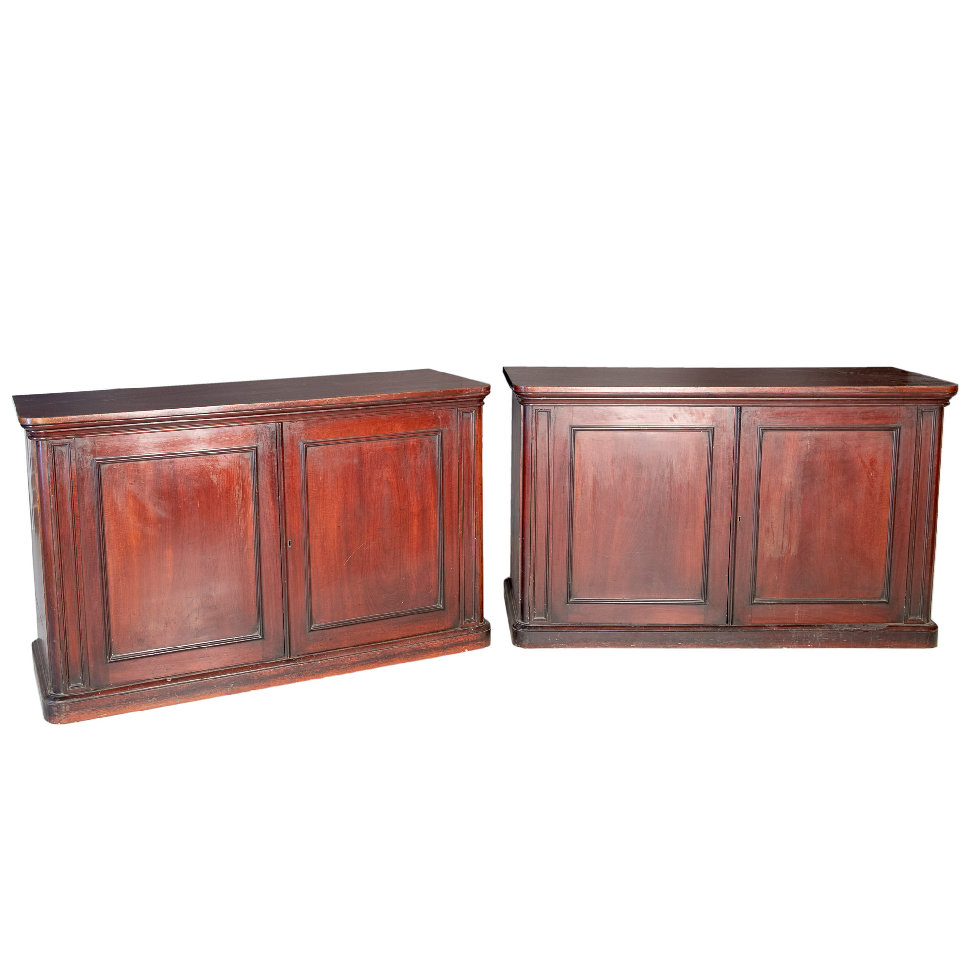'Impressive Pair of English Mahogany Collector Cabinets Late 19th Century'