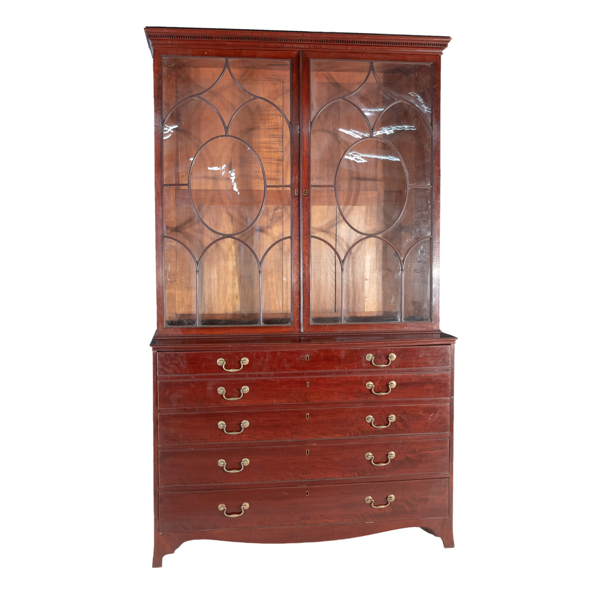 'Large George III Mahogany Secretaire Bookcase with Astragal Glazing Early 19th Century '